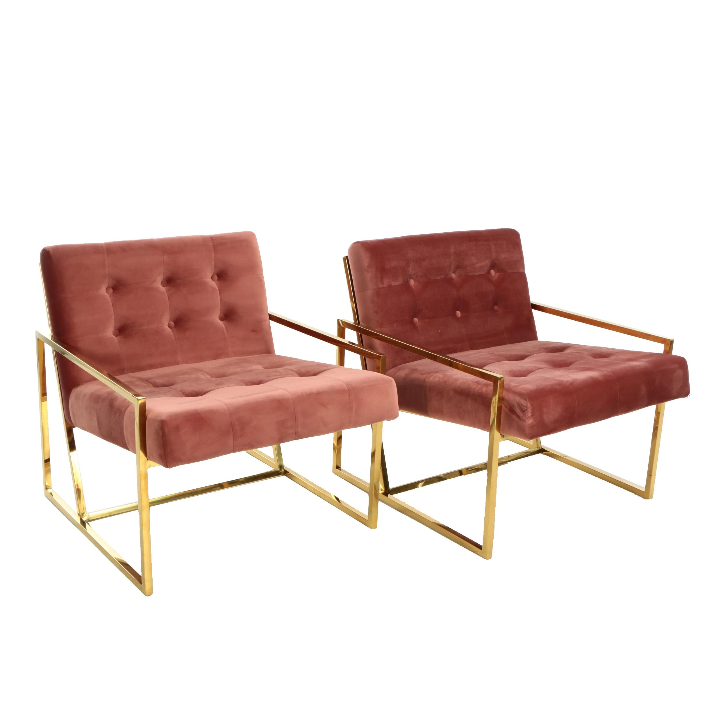 """Pair of """"Beauvoir"""" Button Tufted Velour Lounge Chairs"""
