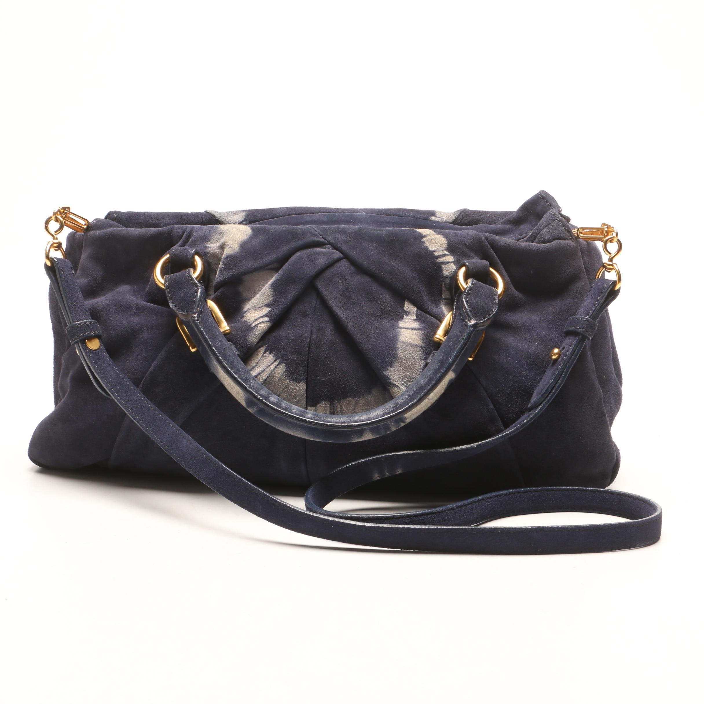 Miu Miu Dark Blue Suede and Leather Satchel with Tie-Dyed Accents