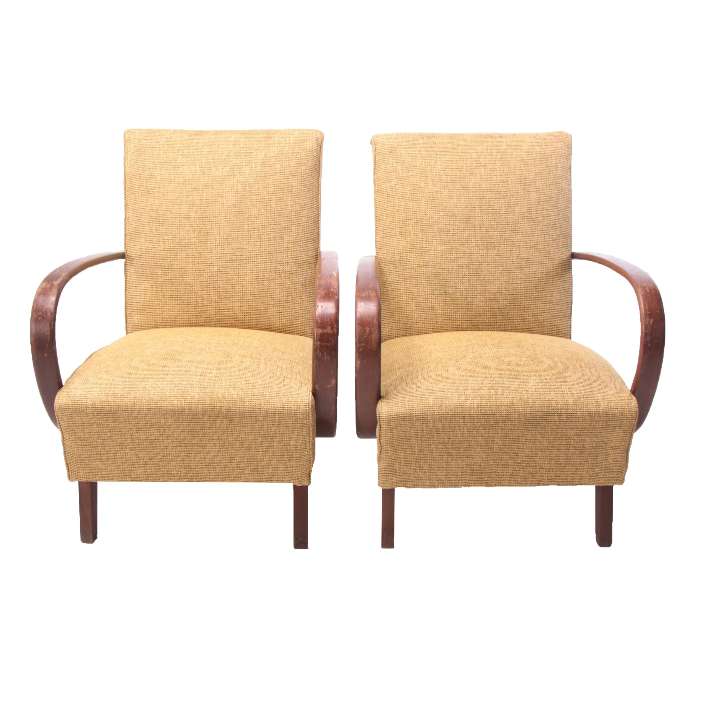Pair of Czech Modern Upholstered Bentwood Armchairs, 20th Century