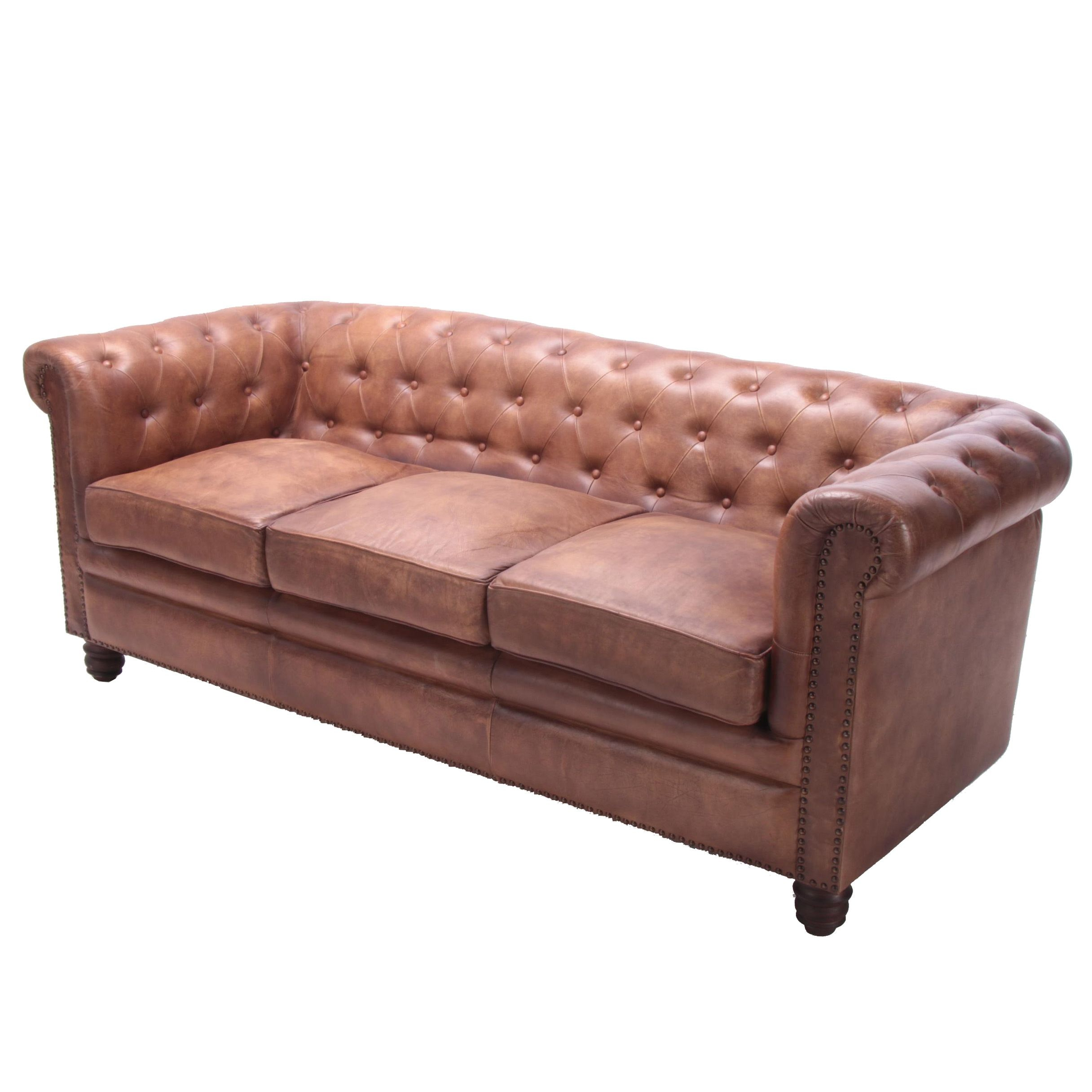 "Chesterfield Style ""Norwood"" Tufted Leather Sofa"