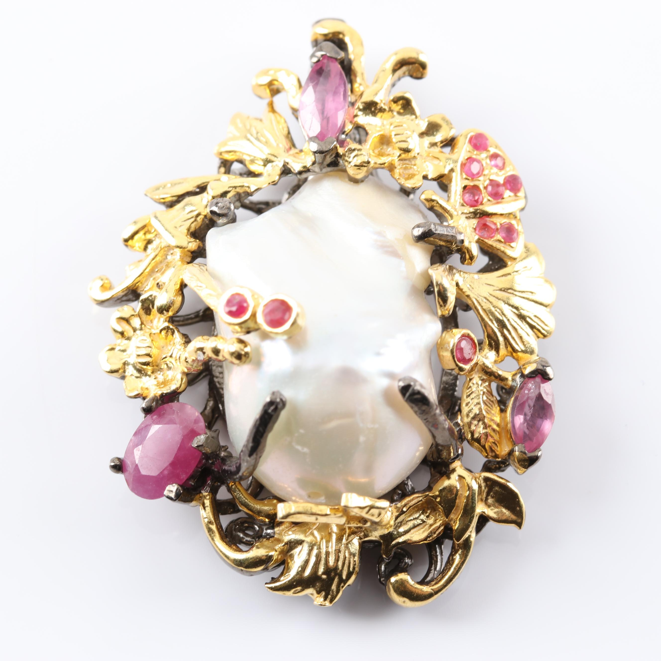 Gold Wash Over Sterling Silver Freshwater Pearl and Ruby Pendant