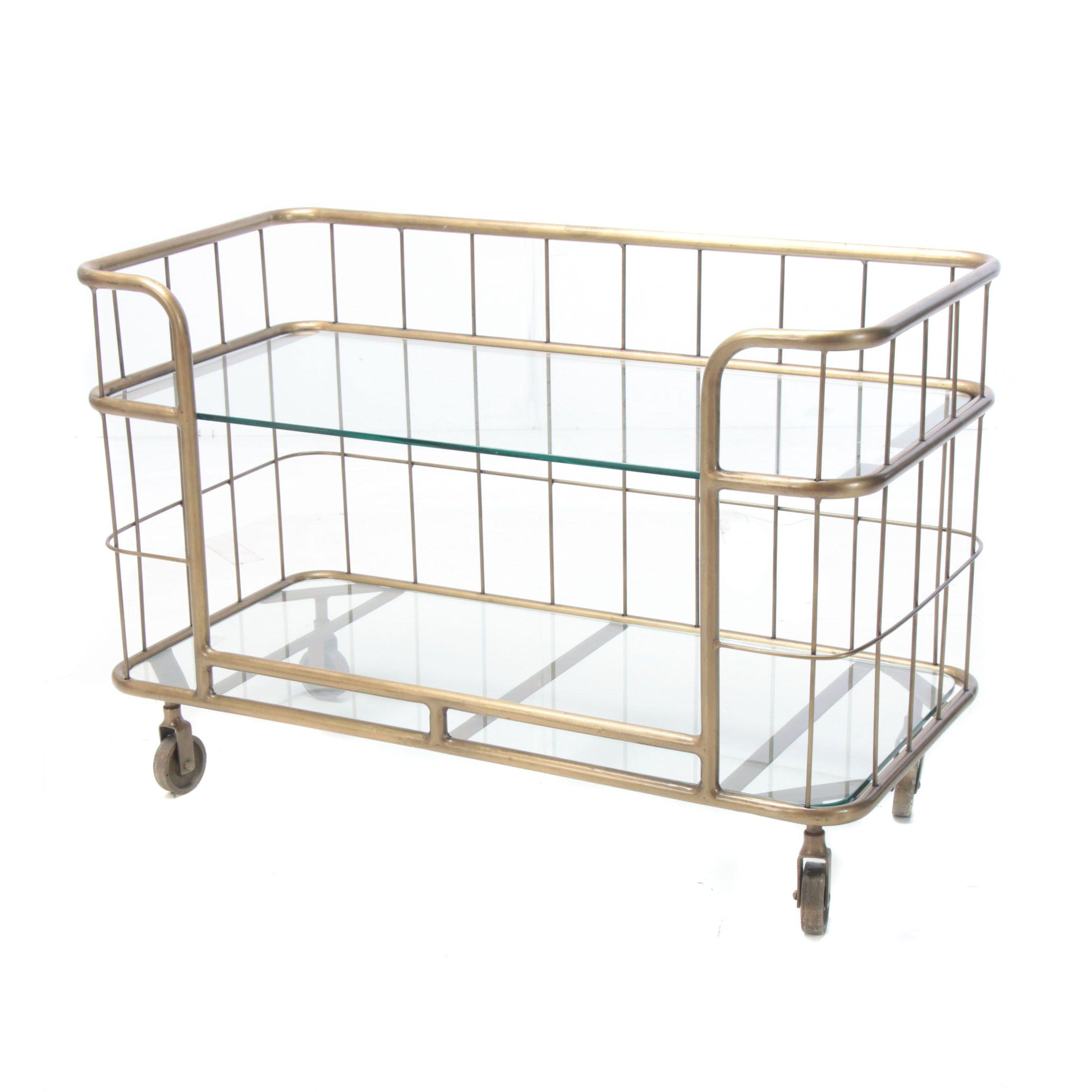 "Industrial Style ""Copa"" Gold Tone Metal Rolling Shelf"