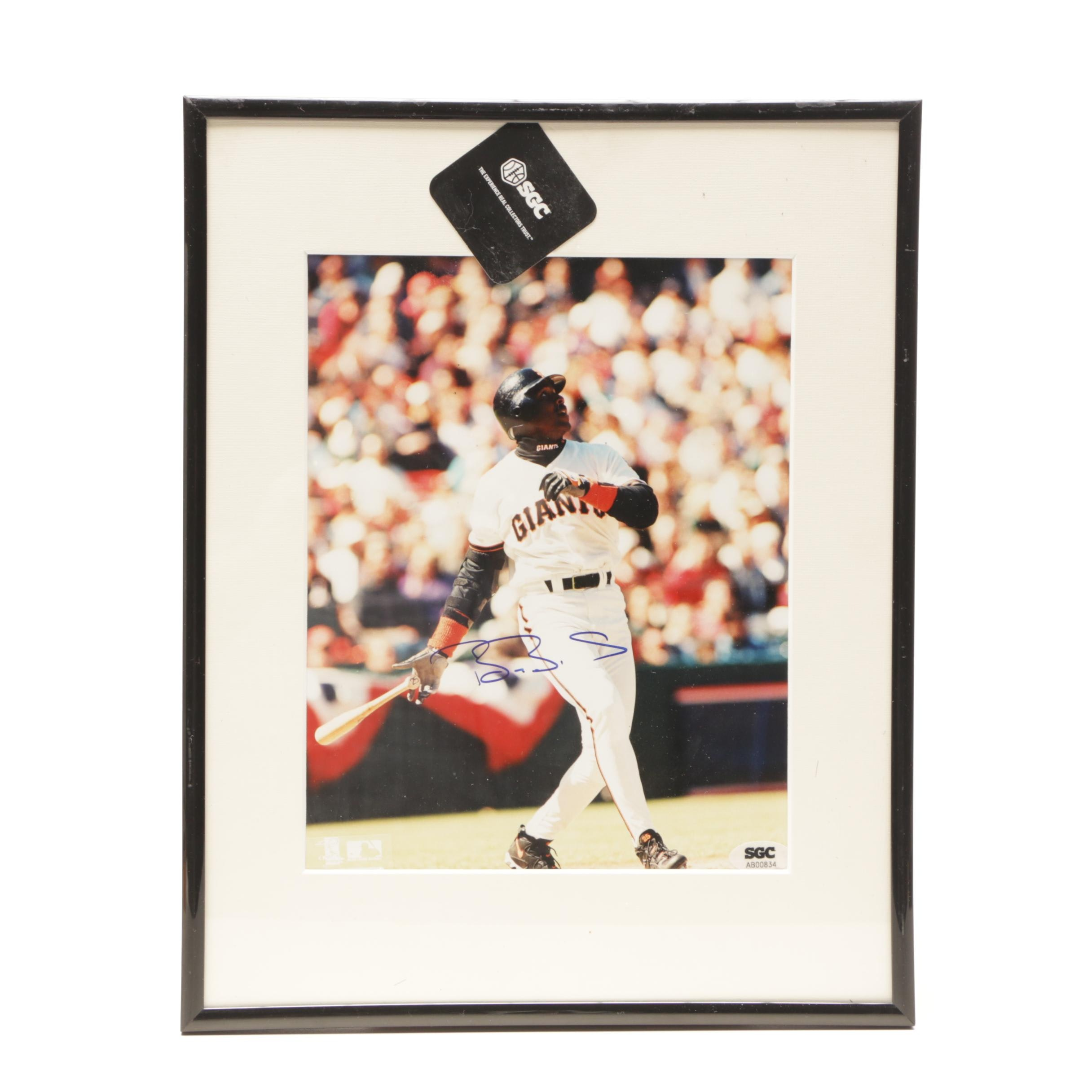 Barry Bonds Signed Framed and Matted San Francisco Baseball Photo Print SGC COA