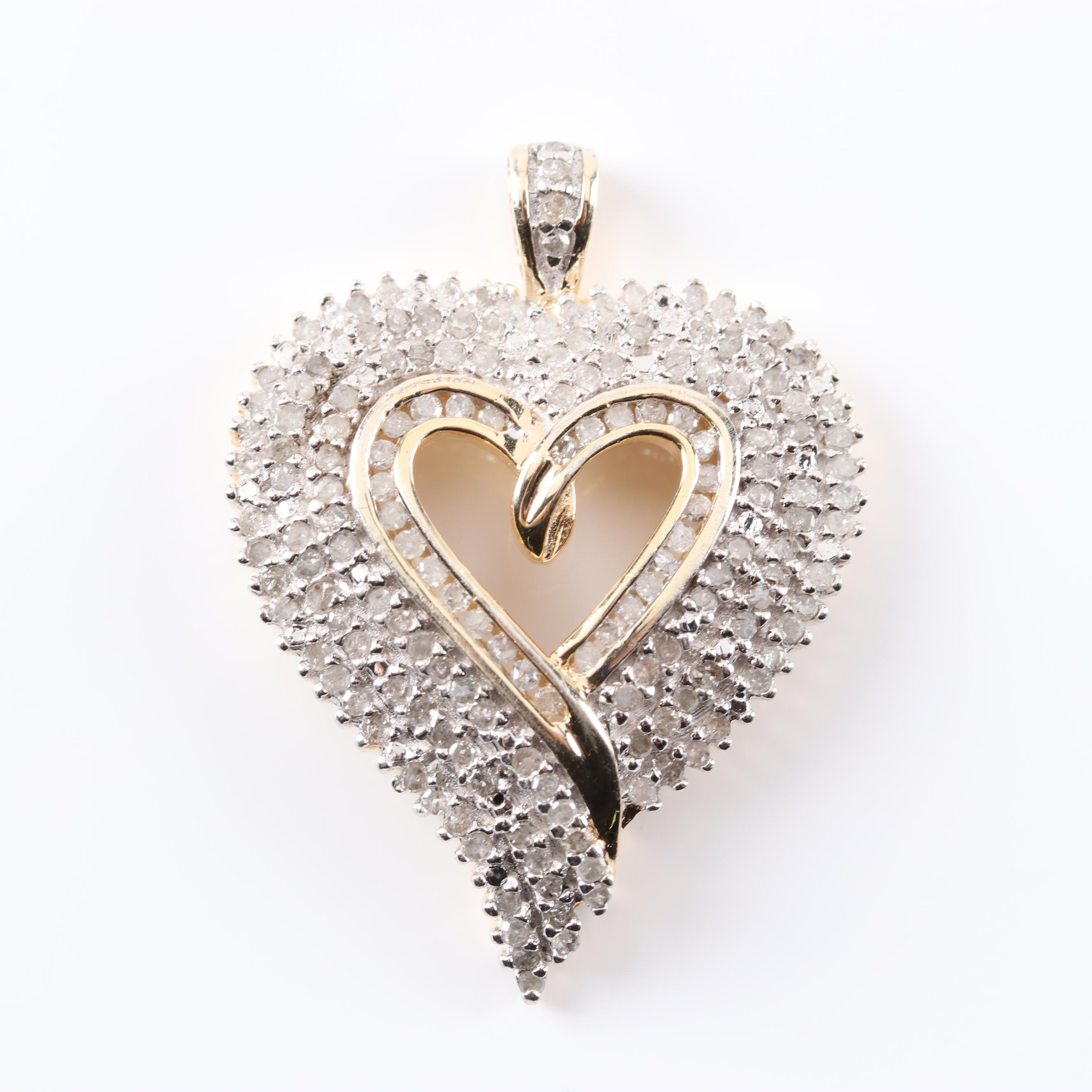 Gold Wash Over Sterling Silver Diamond Heart Pendant