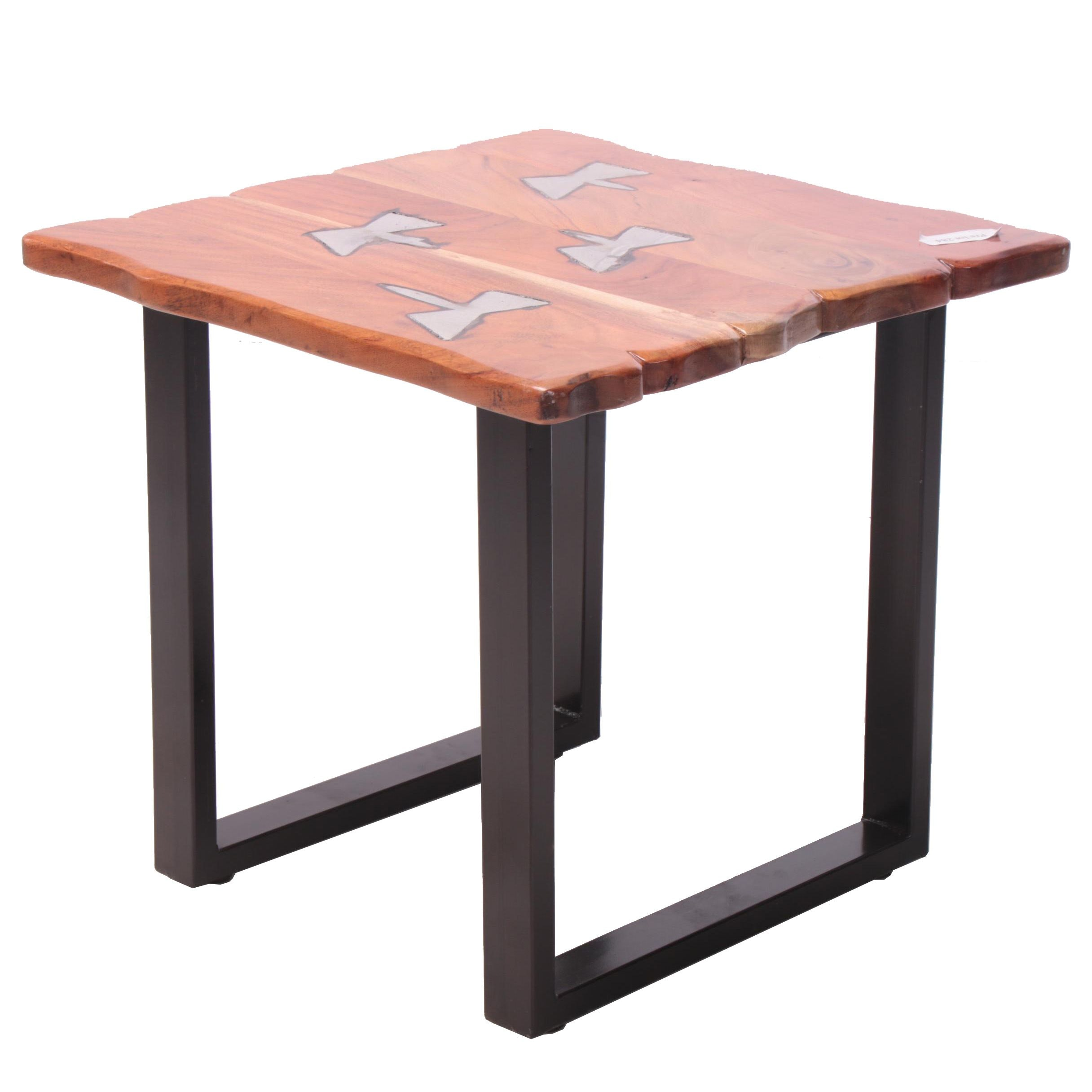 """Industrial Style """"Molten"""" Acacia and Metal Side Table"""