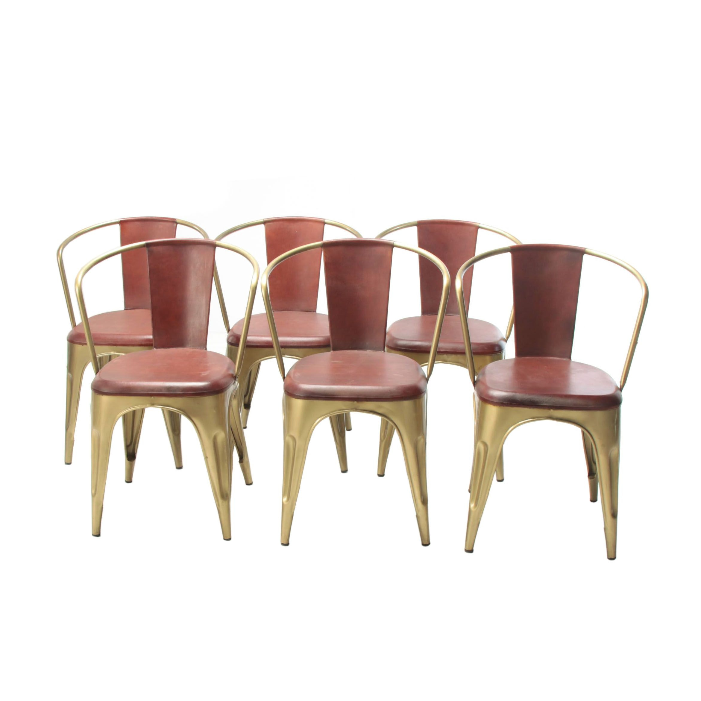 "Industrial Style ""Cigar"" Gold Tone Metal and Leather Dining Chairs, Set of Six"