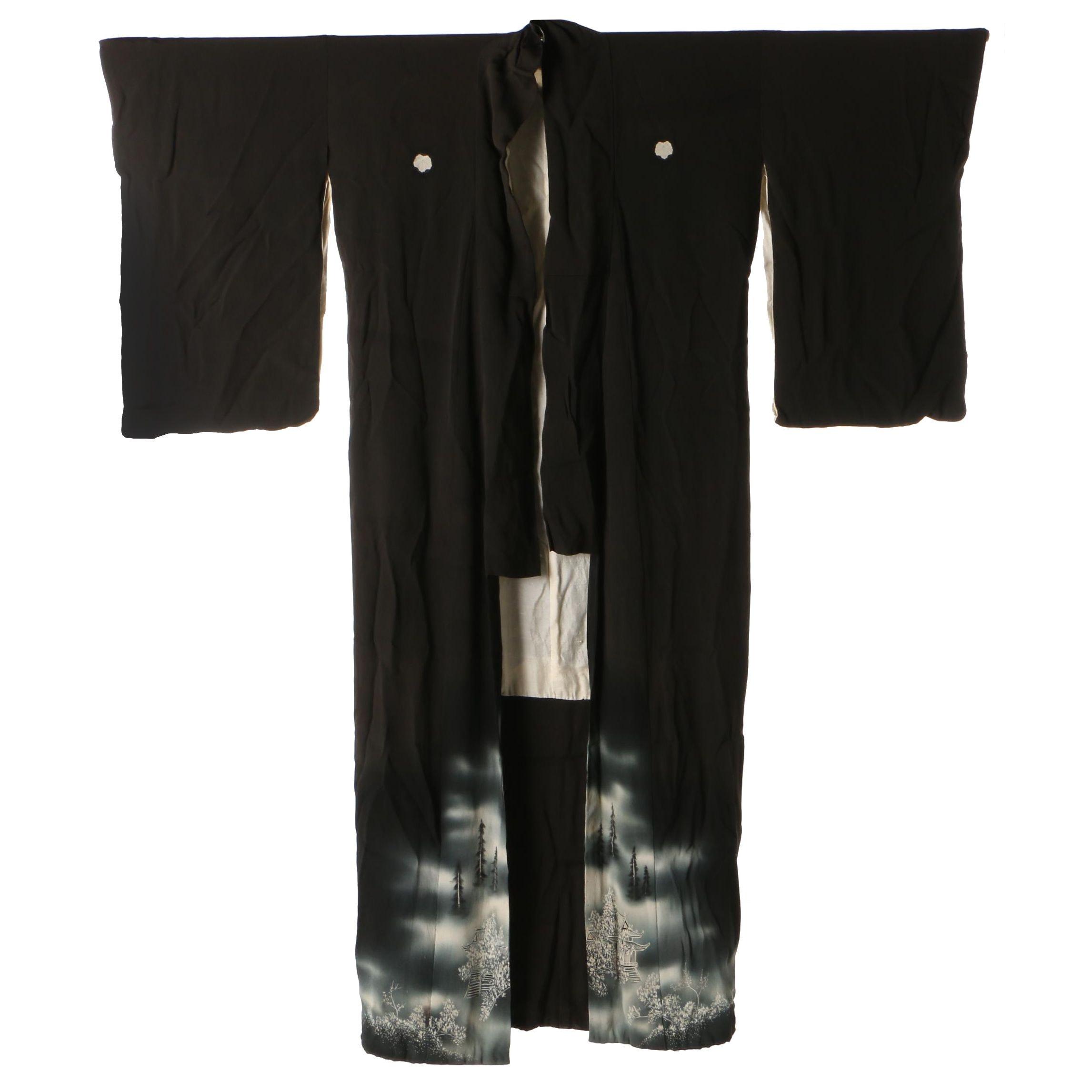 Silk Kuro Tomesode Kimono with Landscape Design