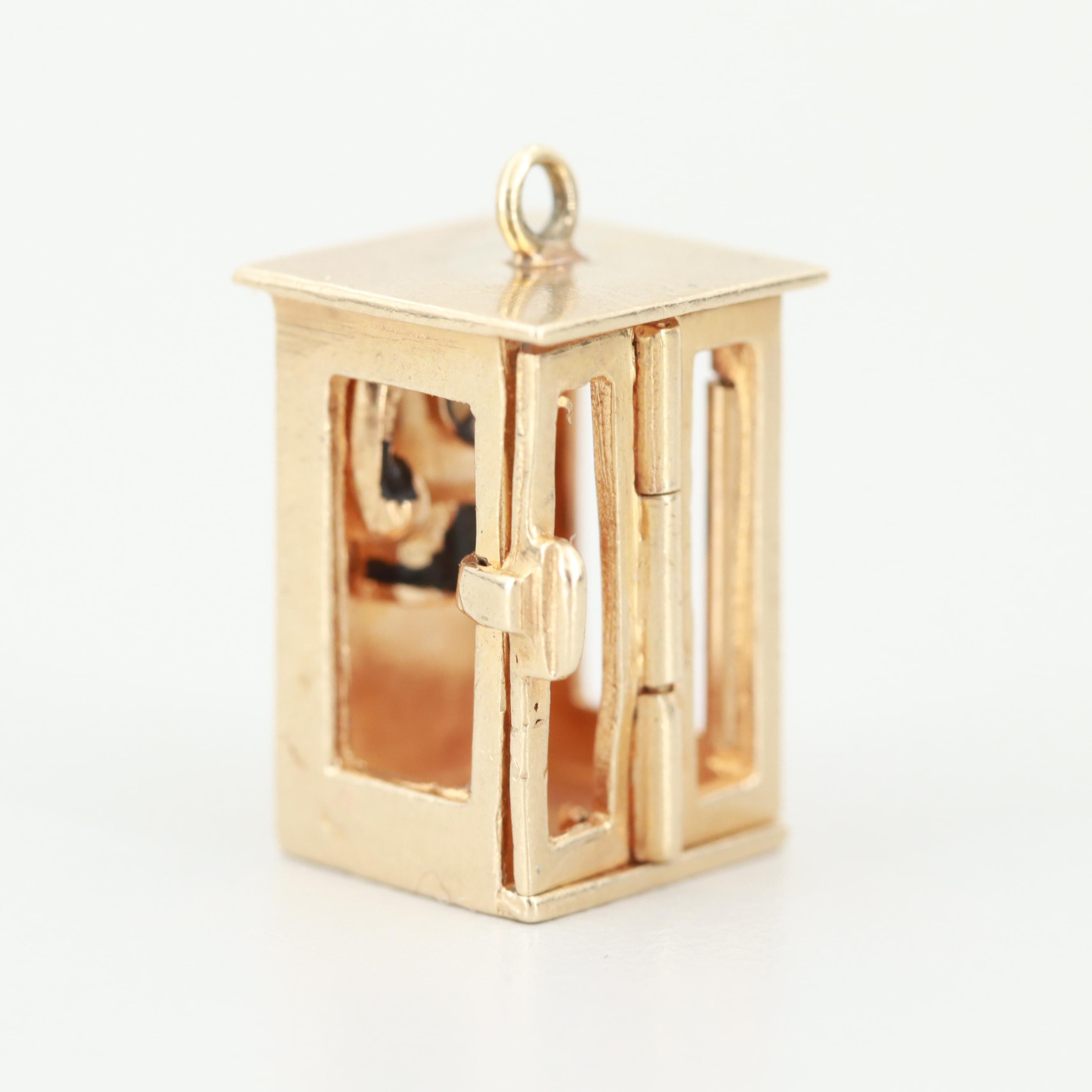 Vintage 14K Yellow Gold Articulating Enamel Phone Booth Charm