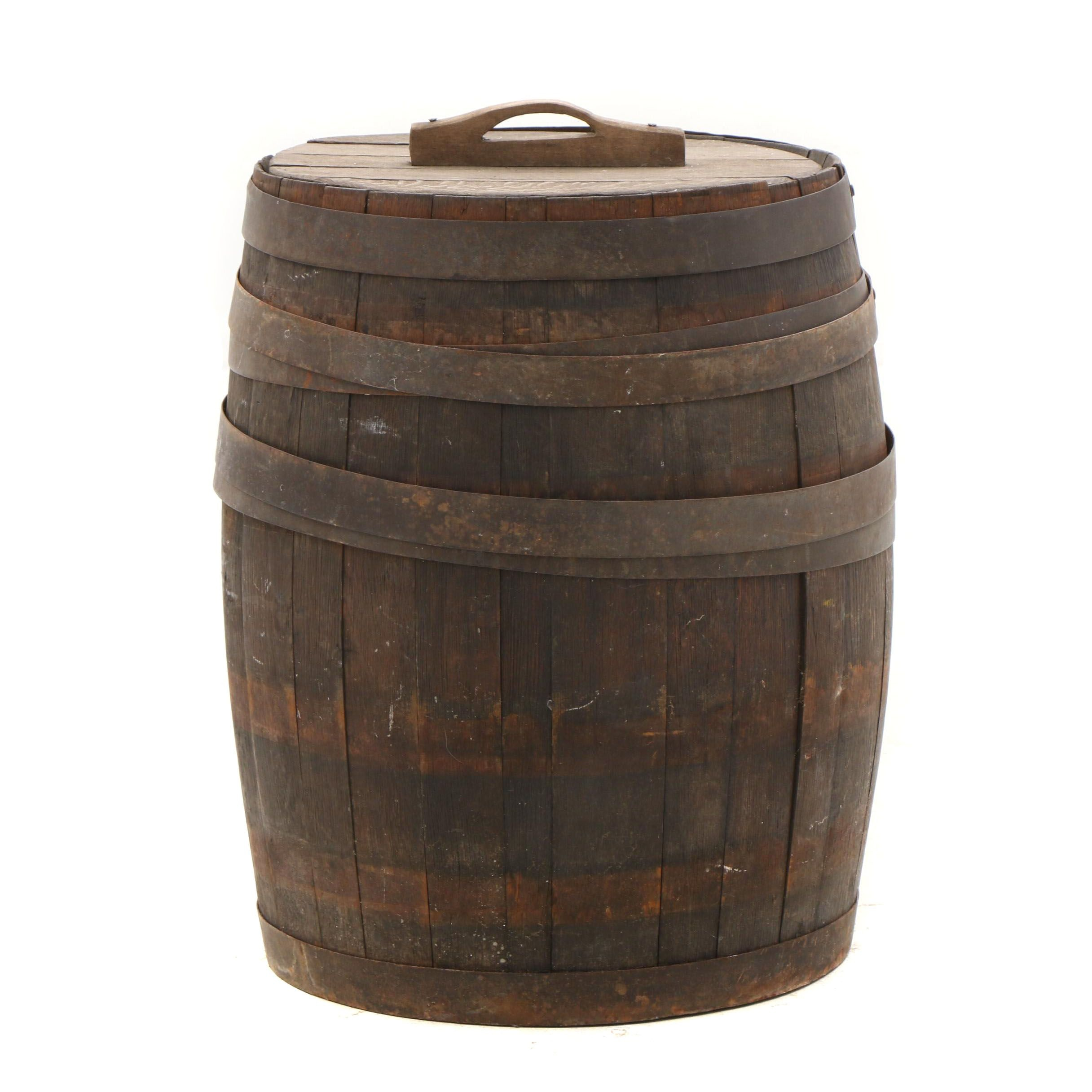 Antique Oak Pickle Barrel with Lid