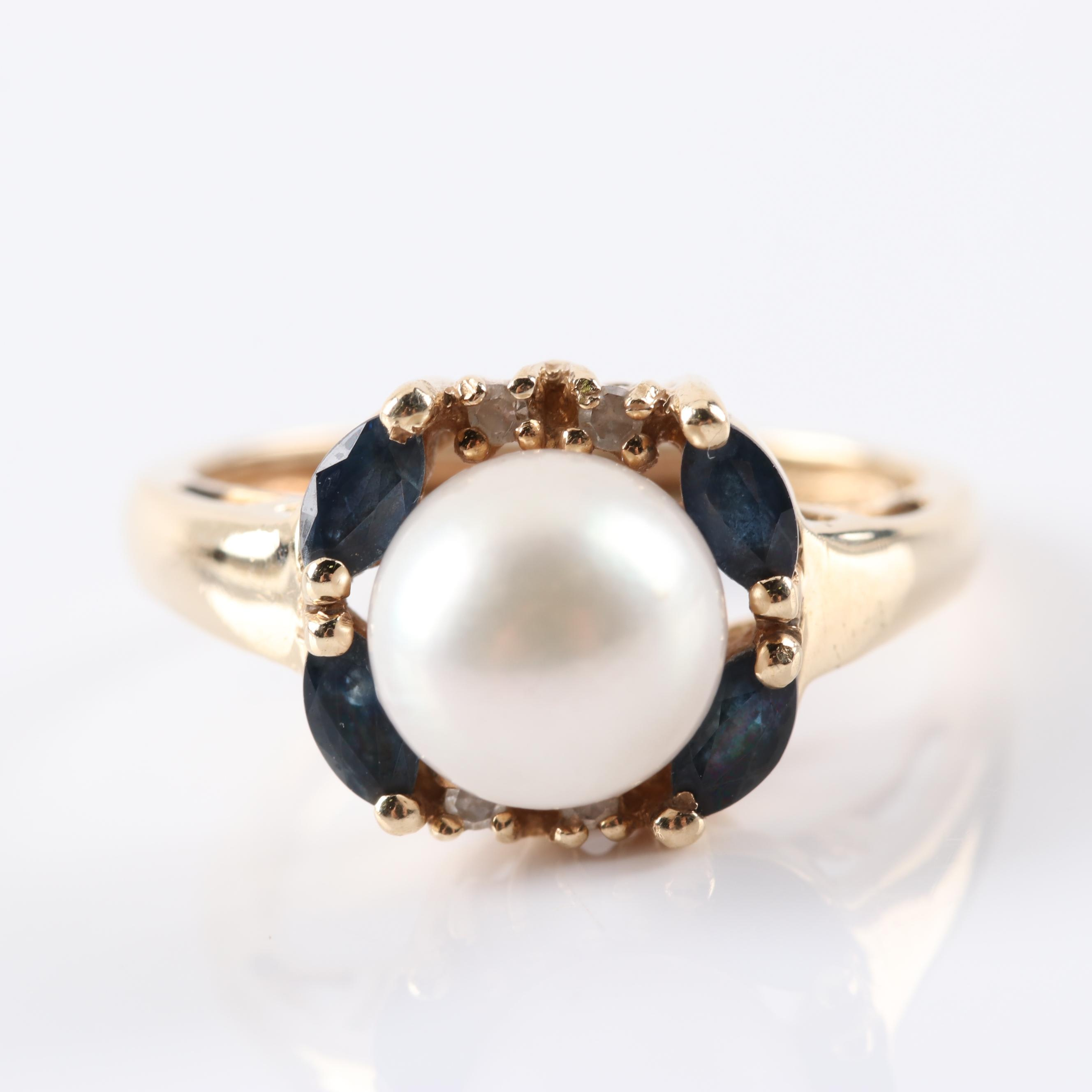 10K Yellow Gold Cultured Pearl, Sapphire and Diamond Ring