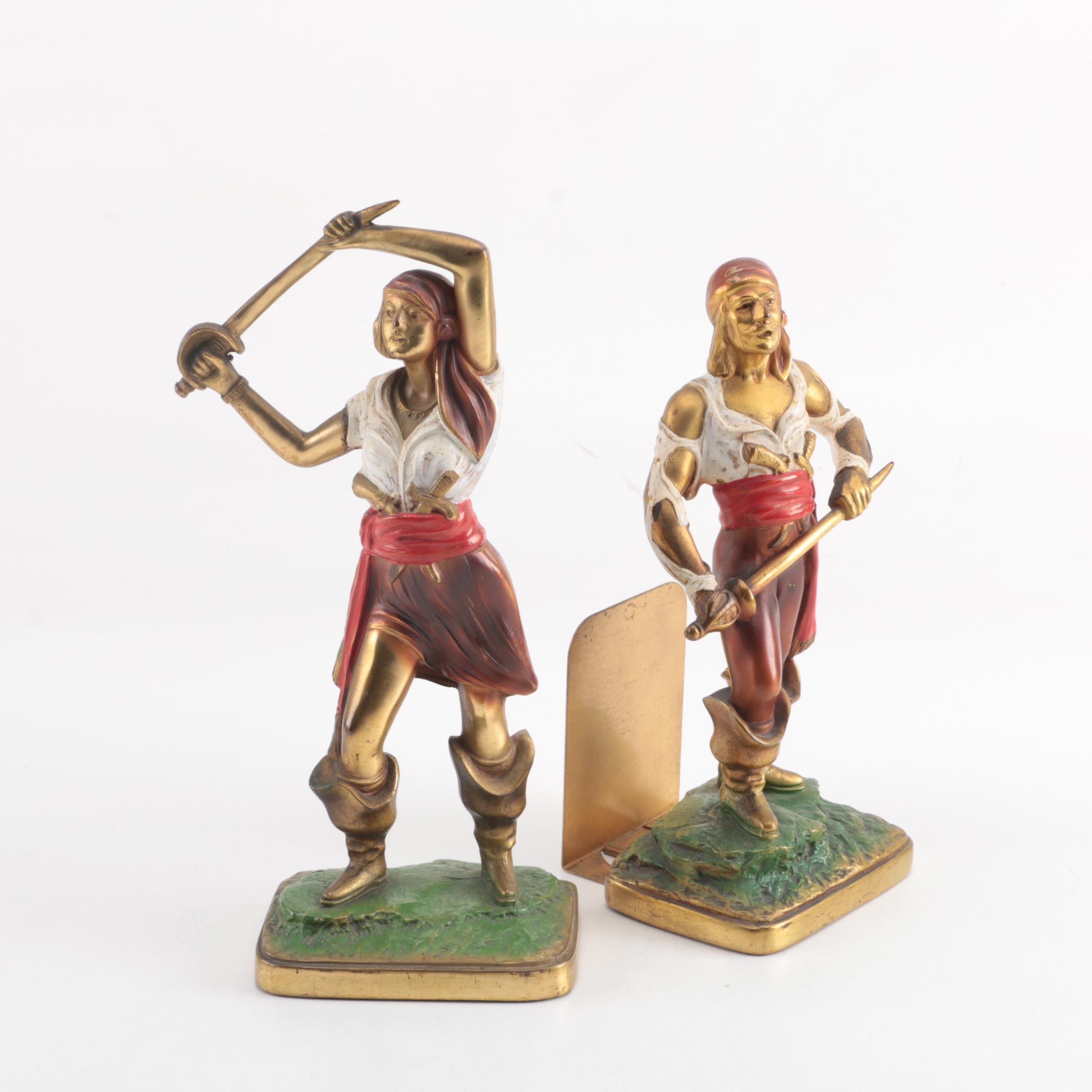 Kronheim & Oldenbusch Cold Painted Cast Metal Pirate Bookends