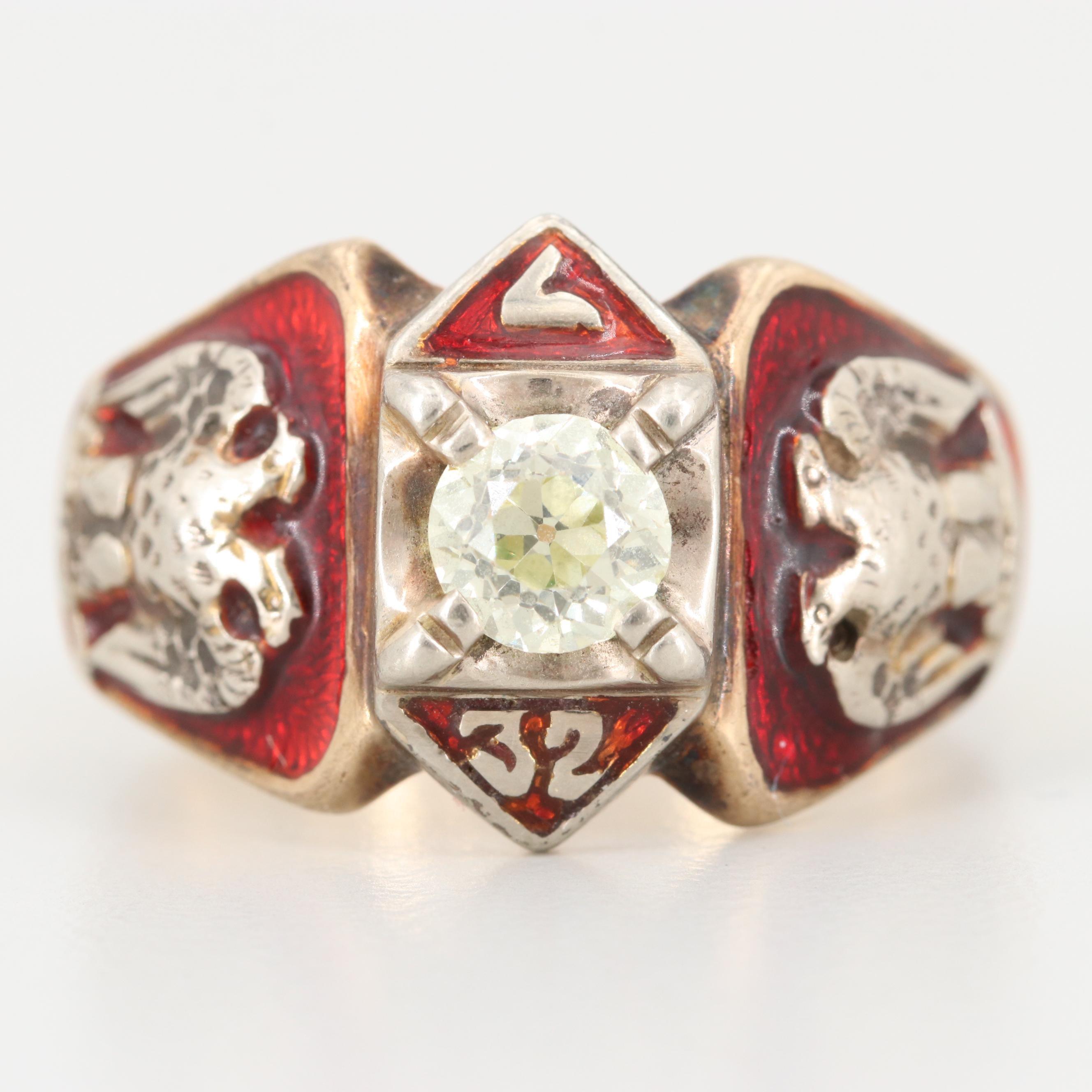 10K Yellow Gold Diamond and Enamel Scottish Rite Masonic Ring