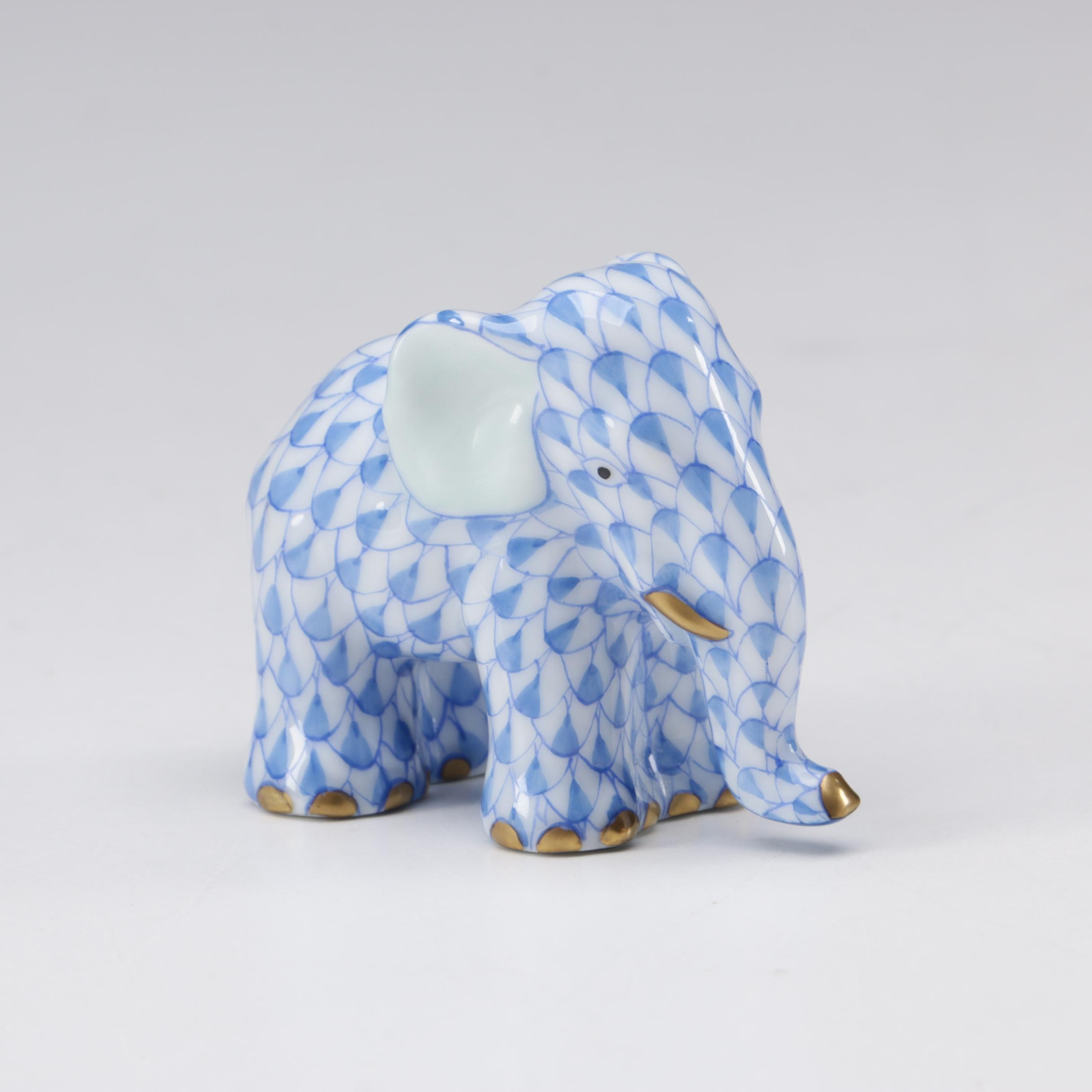 "Herend Blue Fishnet ""Miniature Elephant"" Porcelain Figurine"