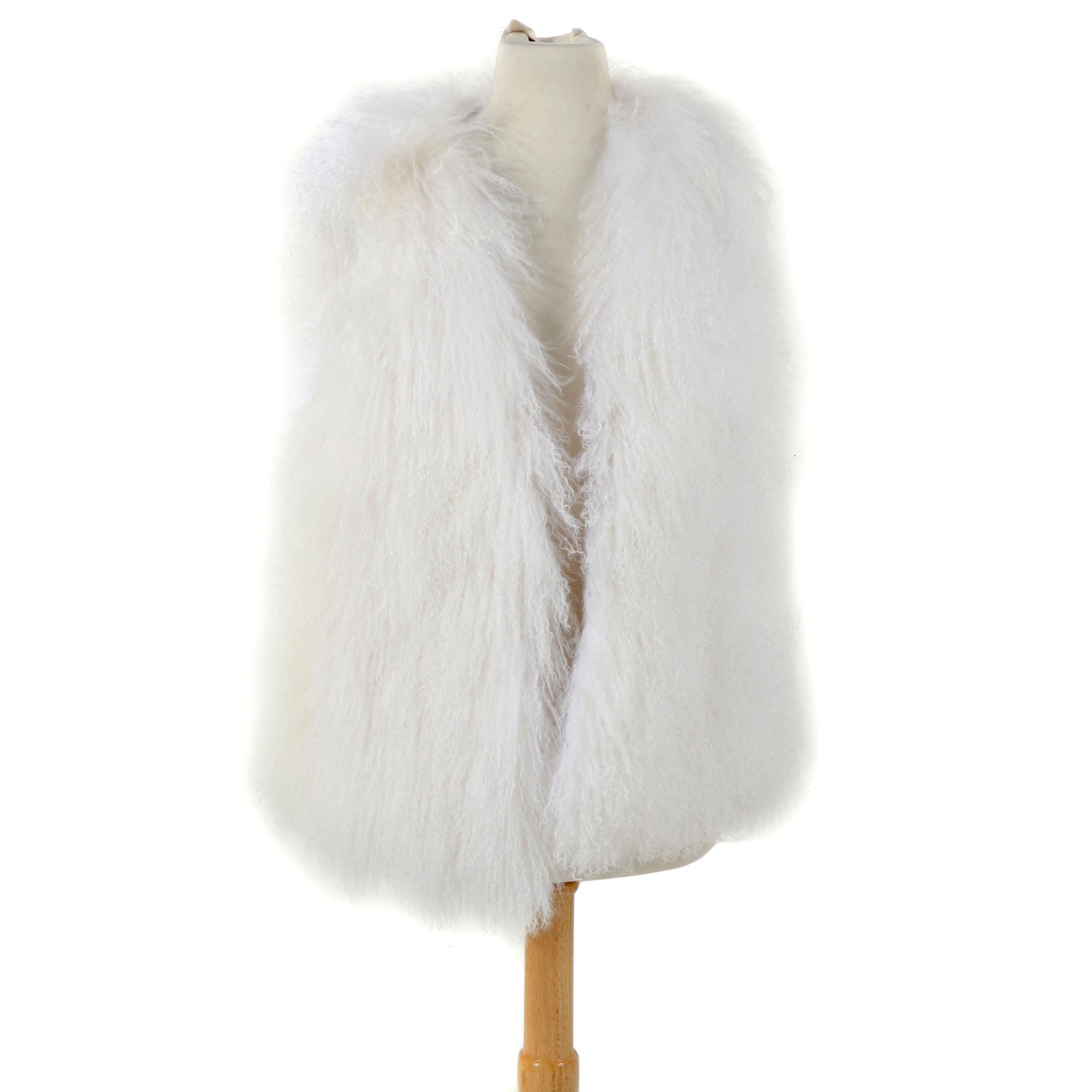 Women's White Mongolian Lamb Fur Vest