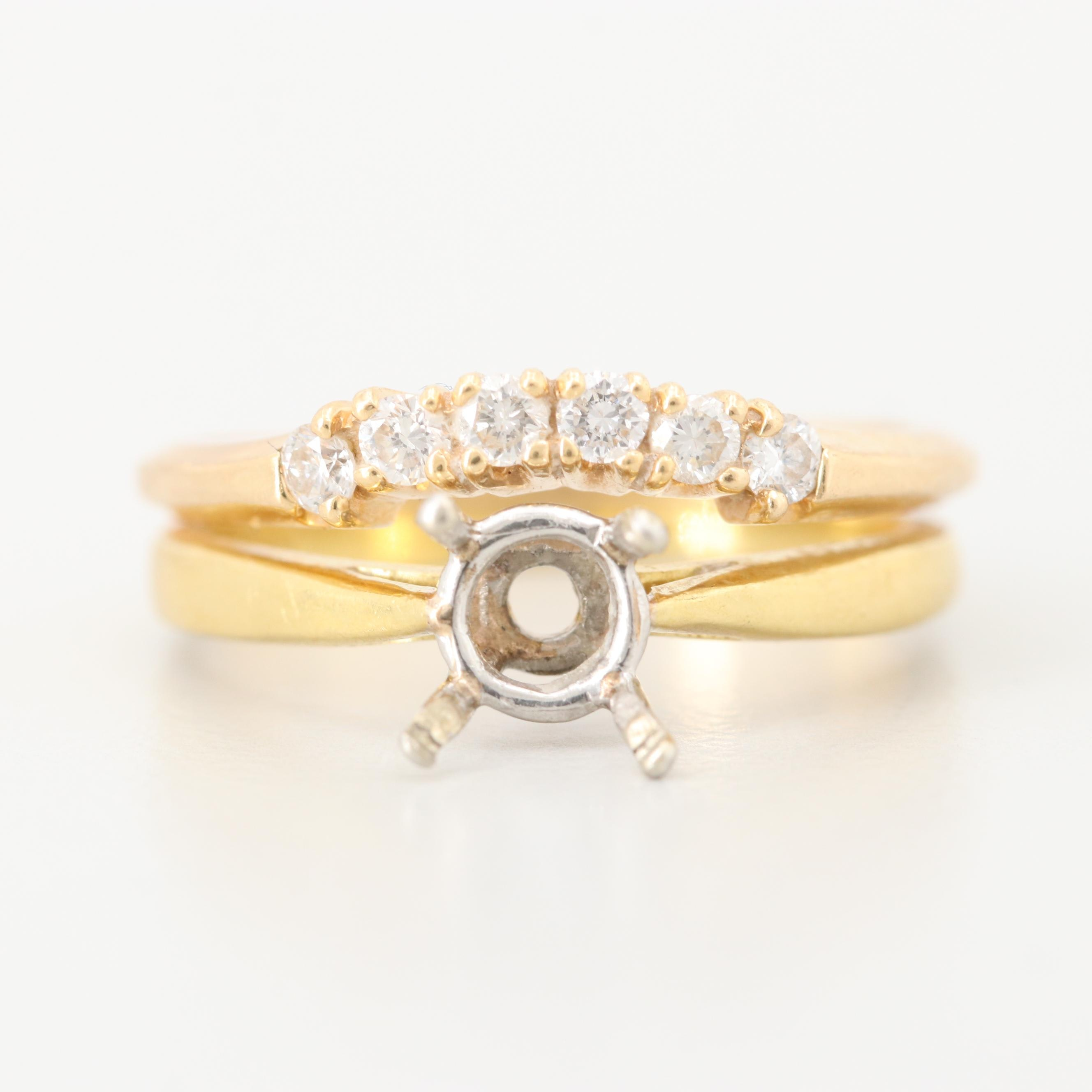 18K and 14K Yellow Gold Semi-Mount Diamond Ring with Platinum Accents