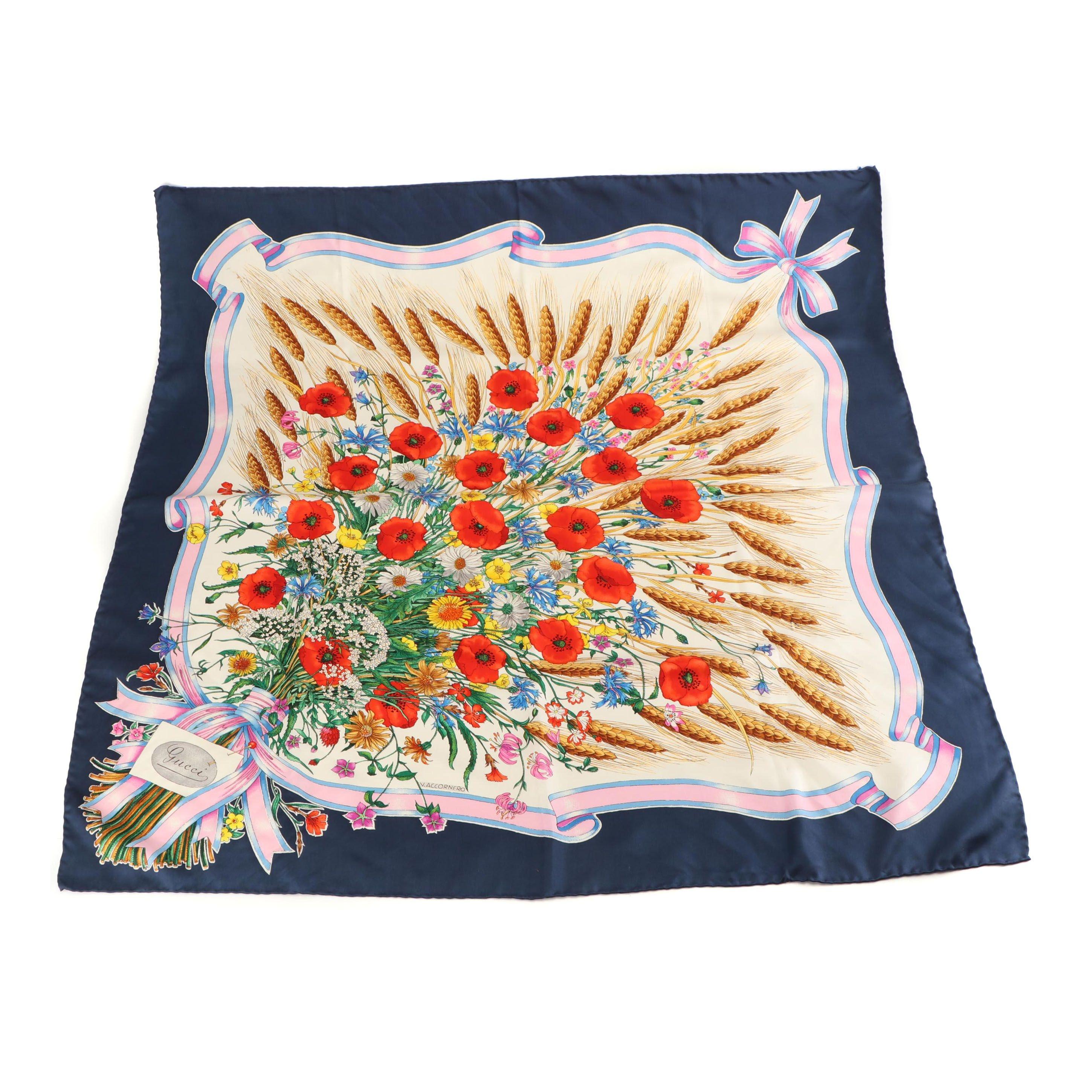 Gucci Floral Print Silk Scarf Designed by Vittorio Accornero, 1970s Vintage