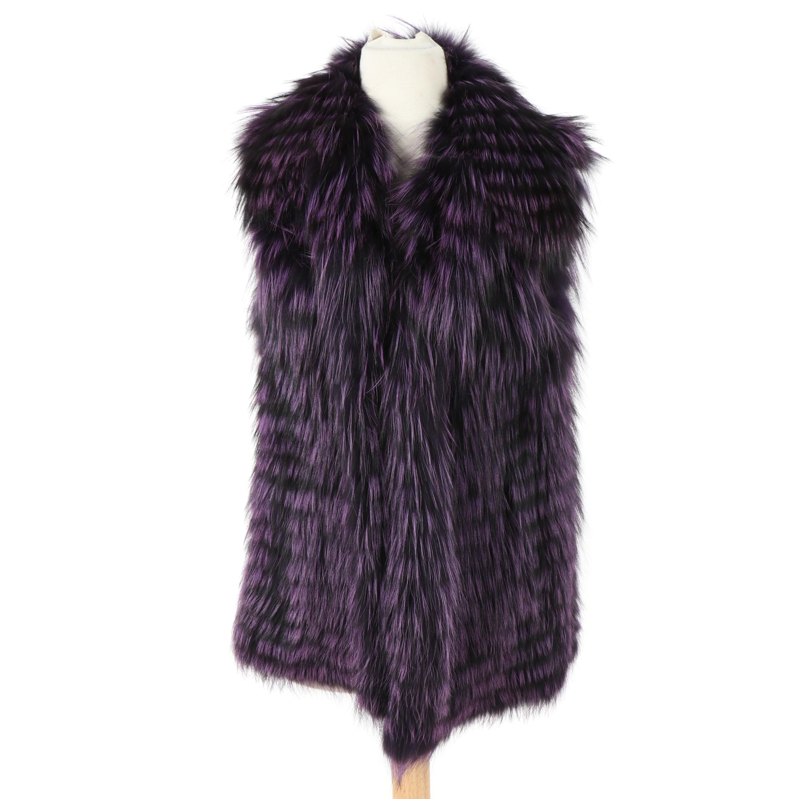 Women's Purple and Black Dyed Raccoon Fur Vest