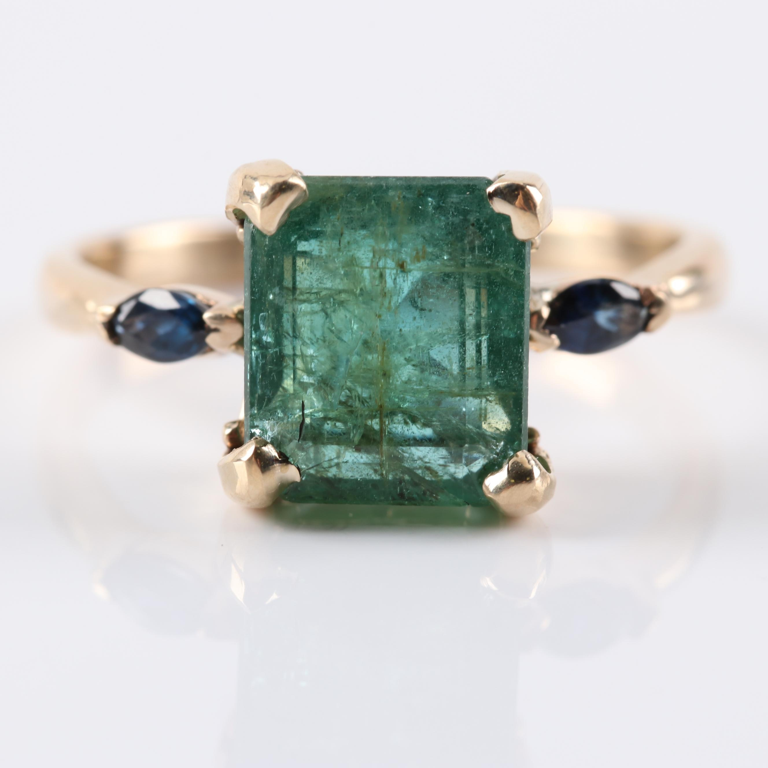 14K Yellow Gold 3.40 CT Emerald and Sapphire Ring