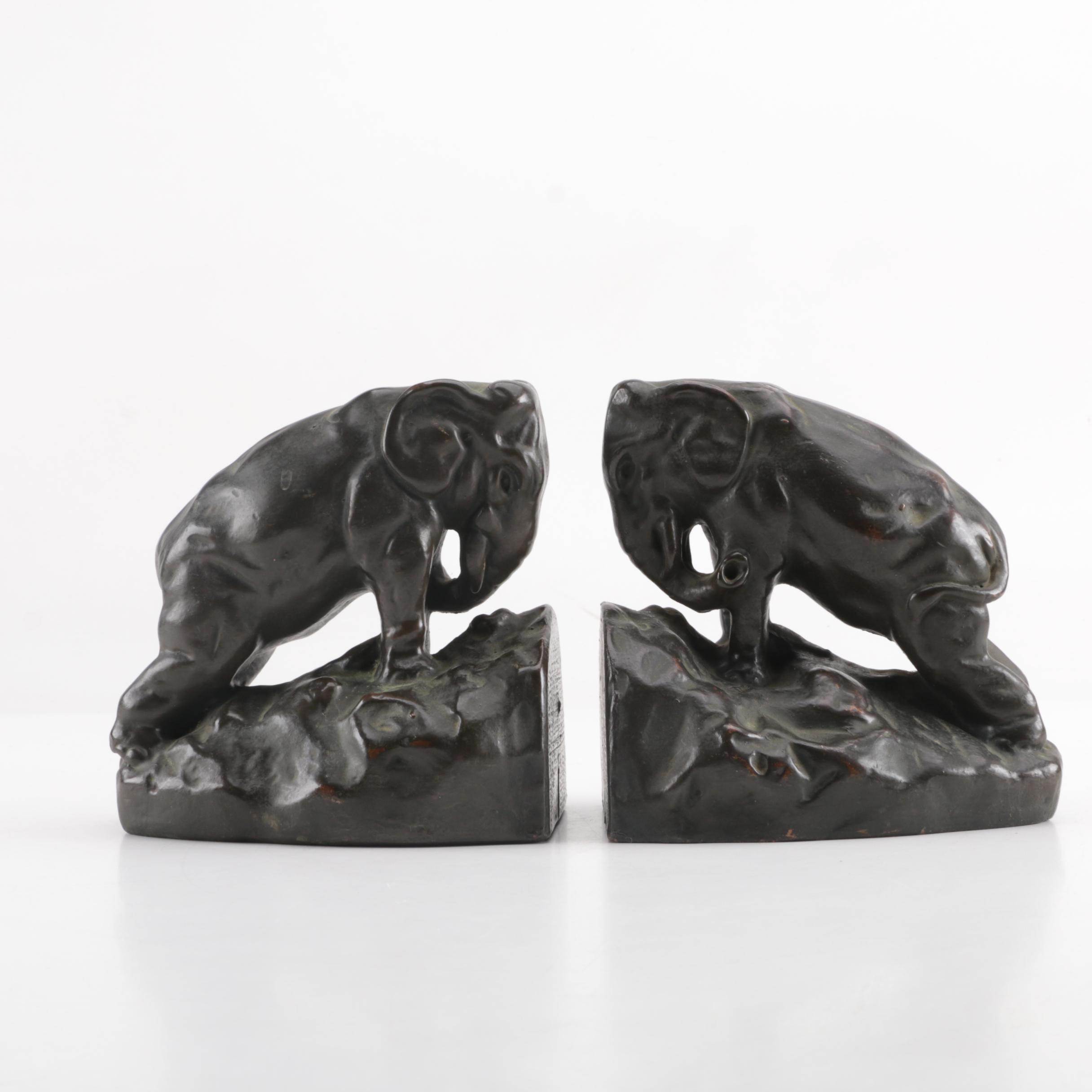 American Bronze Plated Cast Metal Elephant Bookends, Early 20th Century