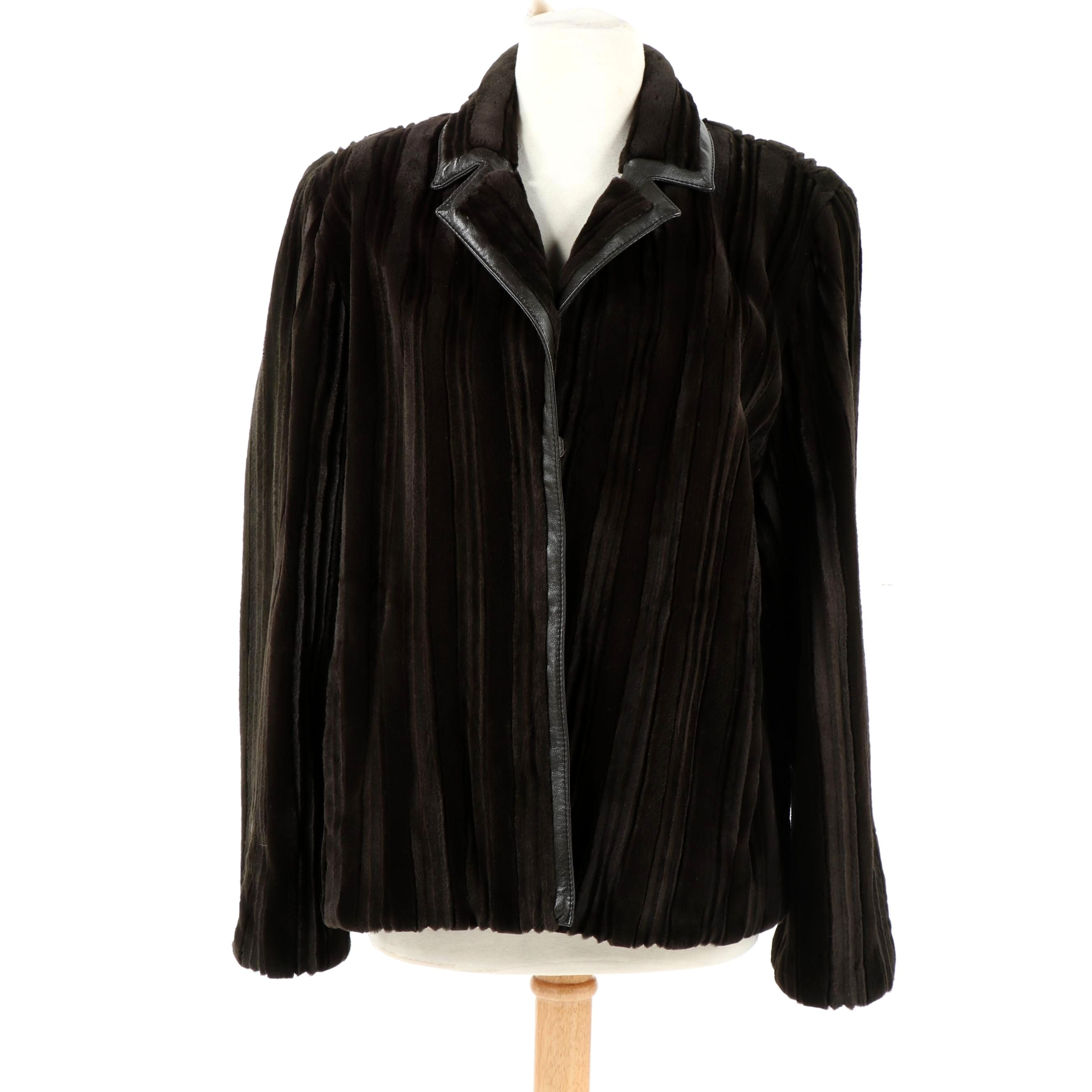 Women's Sheared Mink Fur and Leather Jacket