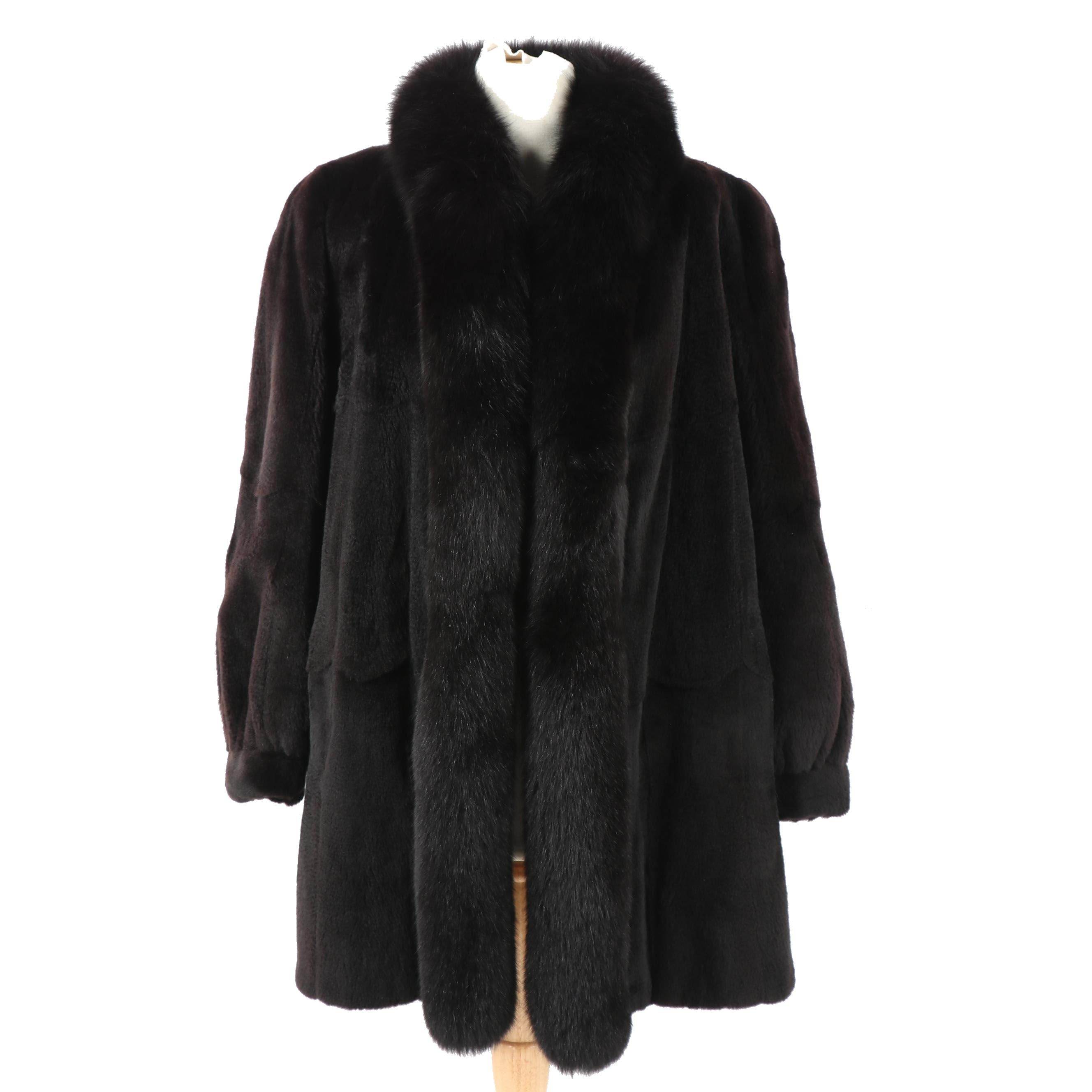 Women's Dyed Black Sheared Mink Fur Coat with Fox Fur Shawl Collar