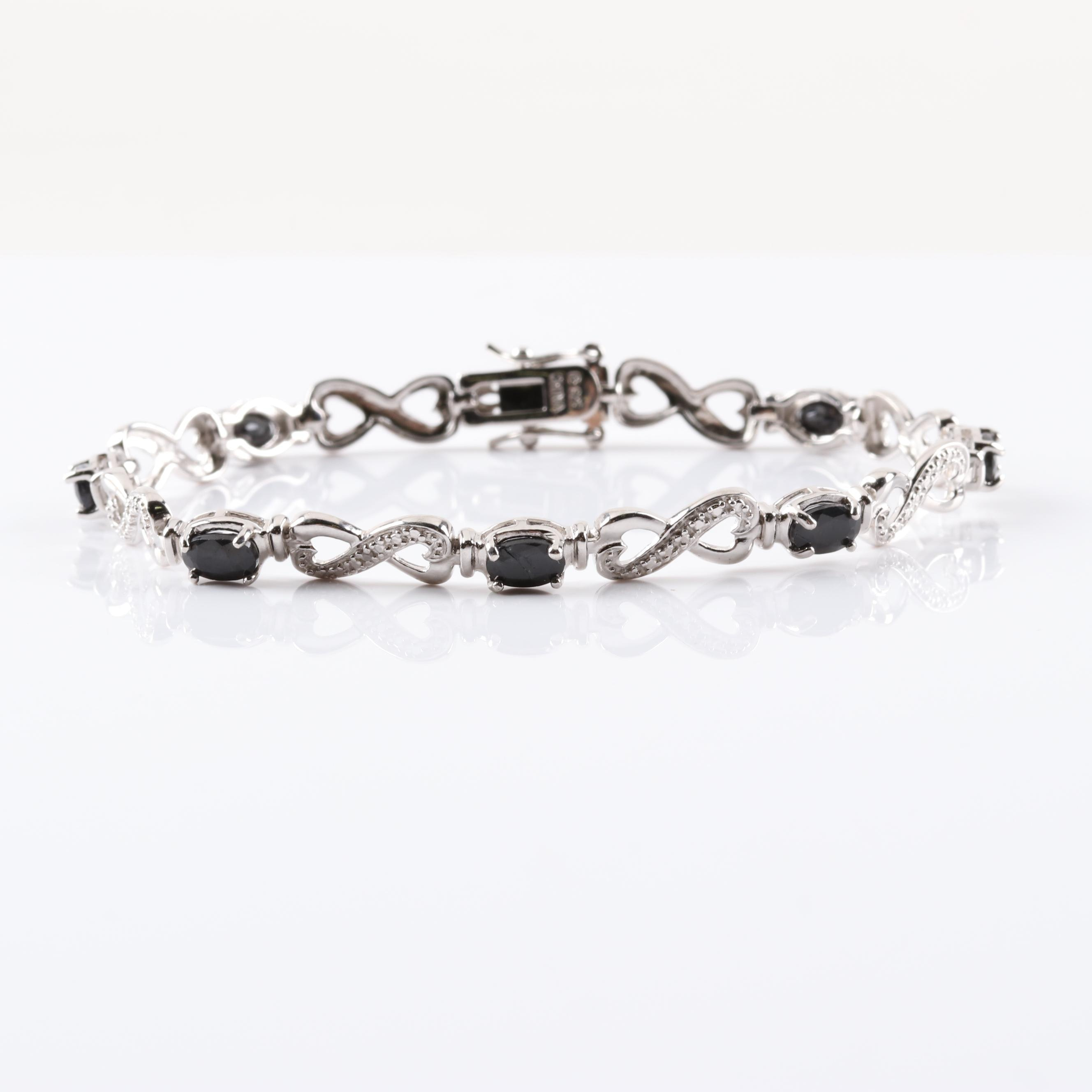 Sterling Silver Sapphire and Diamond Infinity Link Bracelet