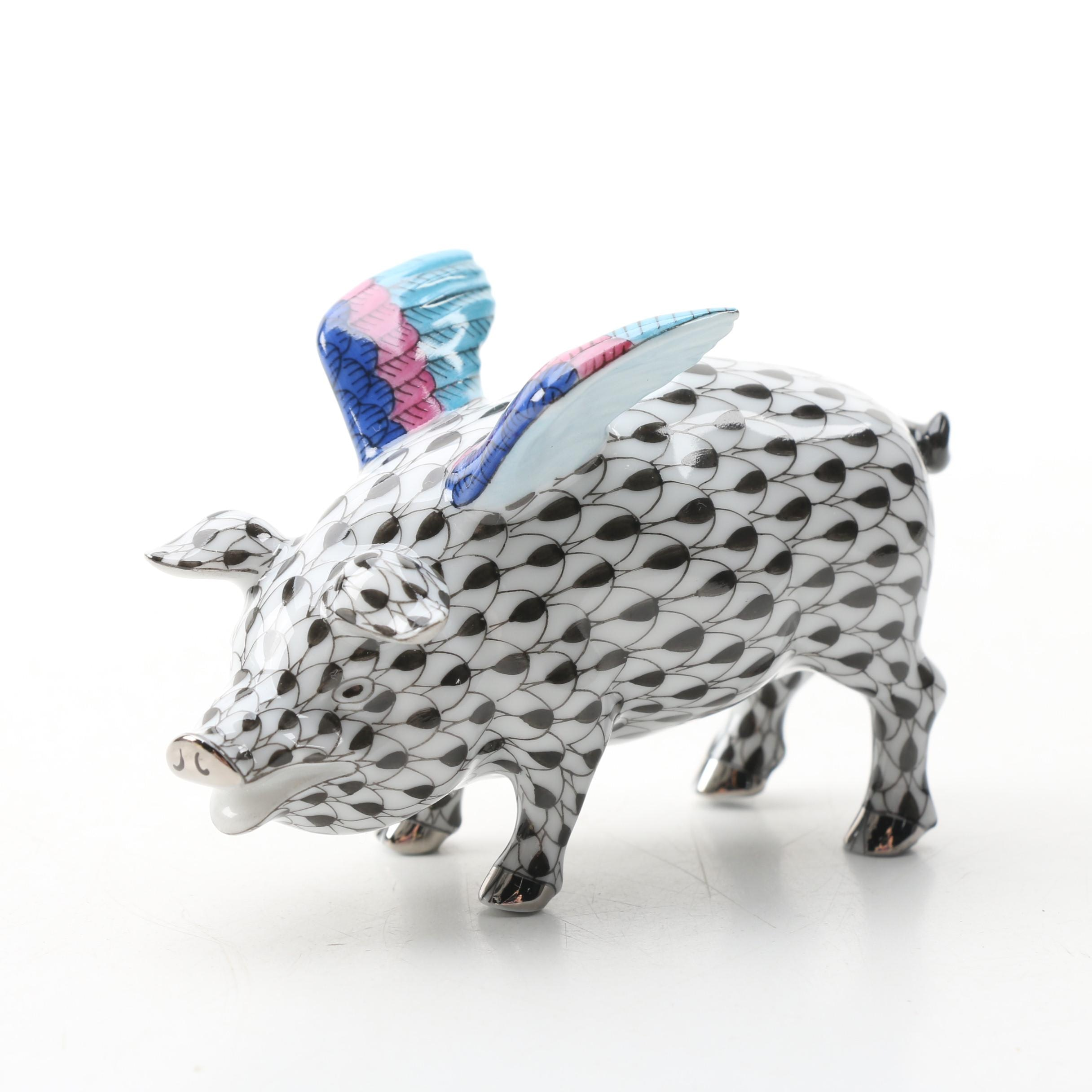 "Herend Black Fishnet with Platinum ""Flying Pig"" Porcelain Figurine"