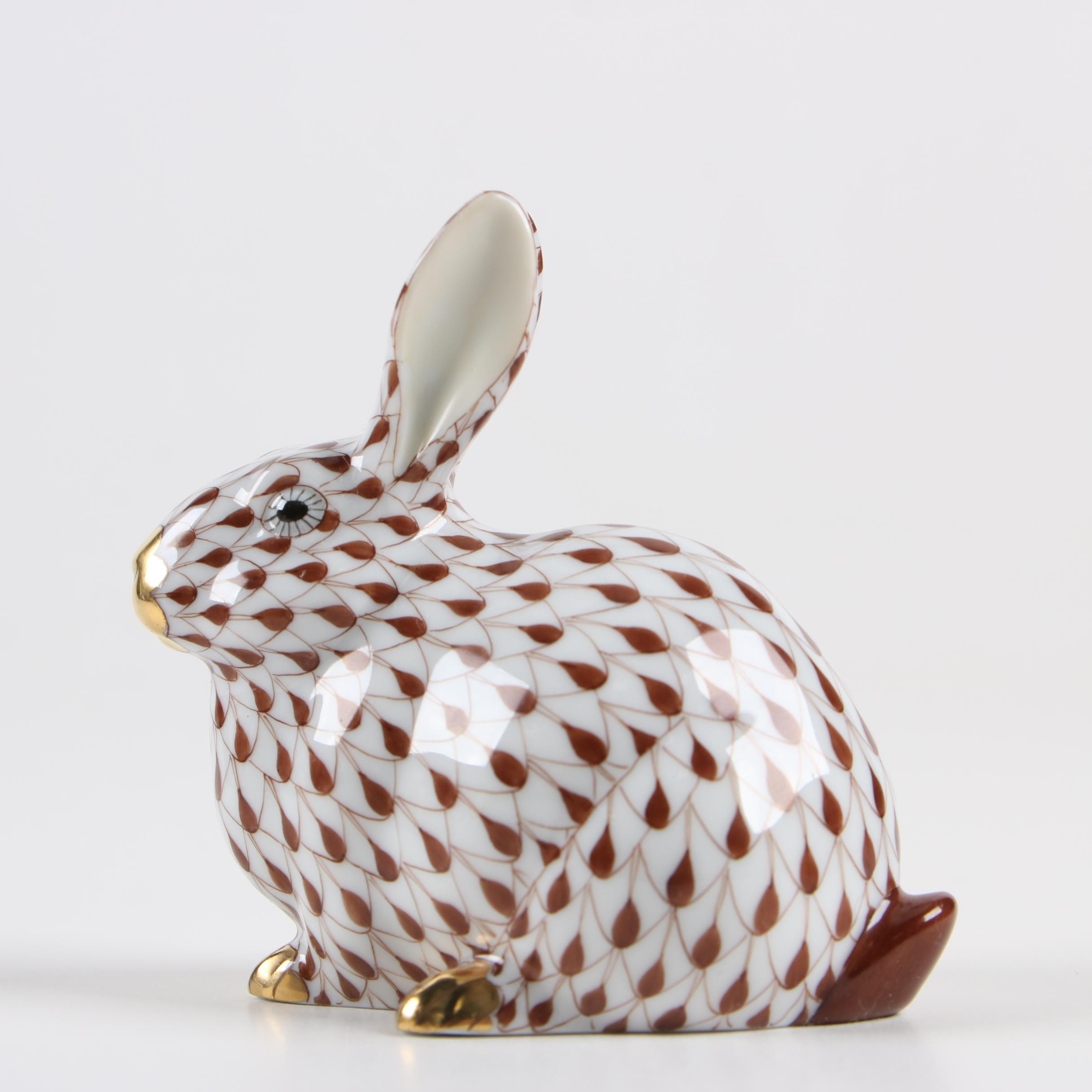"Herend Guild Chocolate Fishnet ""Chubby Bunny"" Porcelain Figurine, 2006"