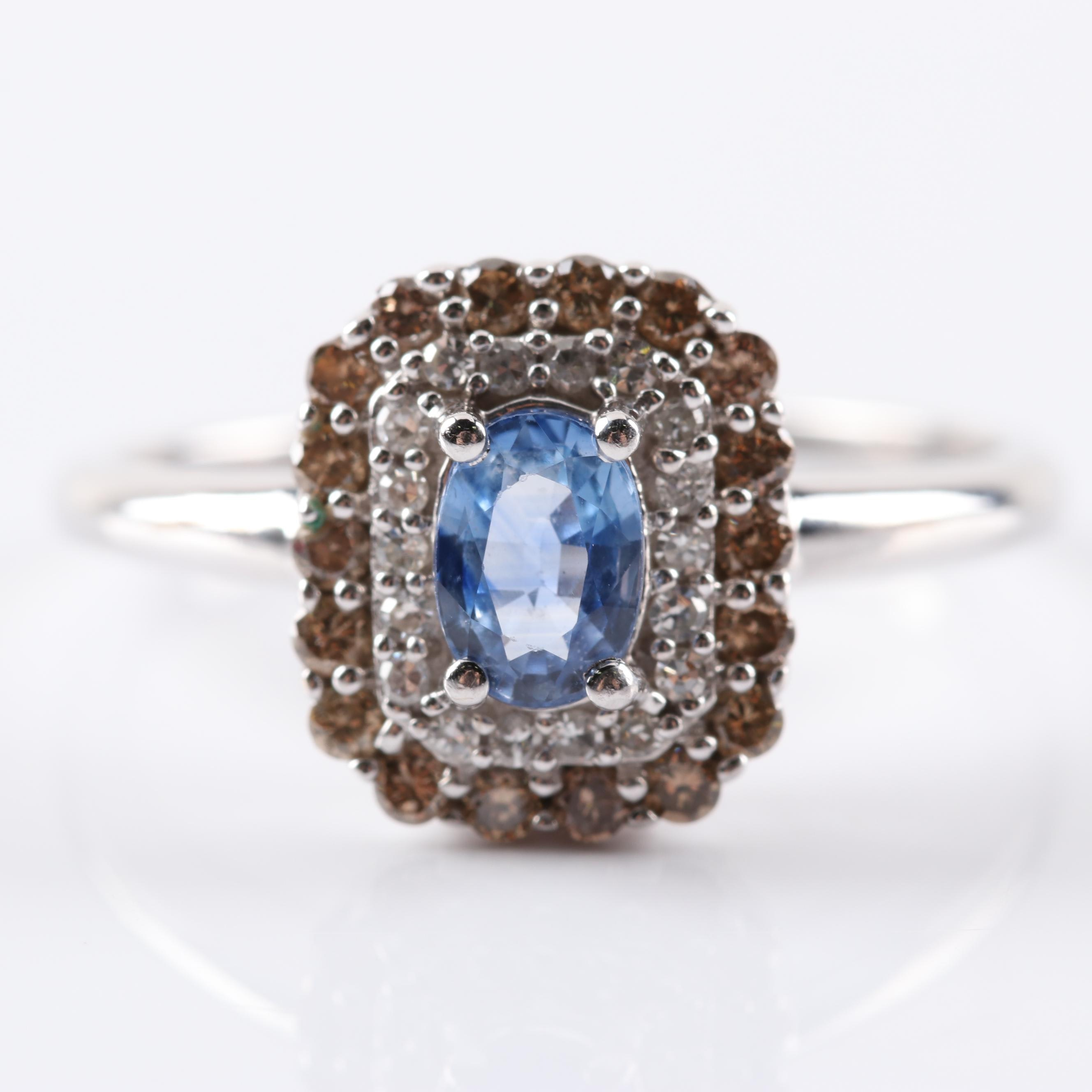EFFY 14K White Gold Sapphire, Diamond, and Brown Diamond Ring