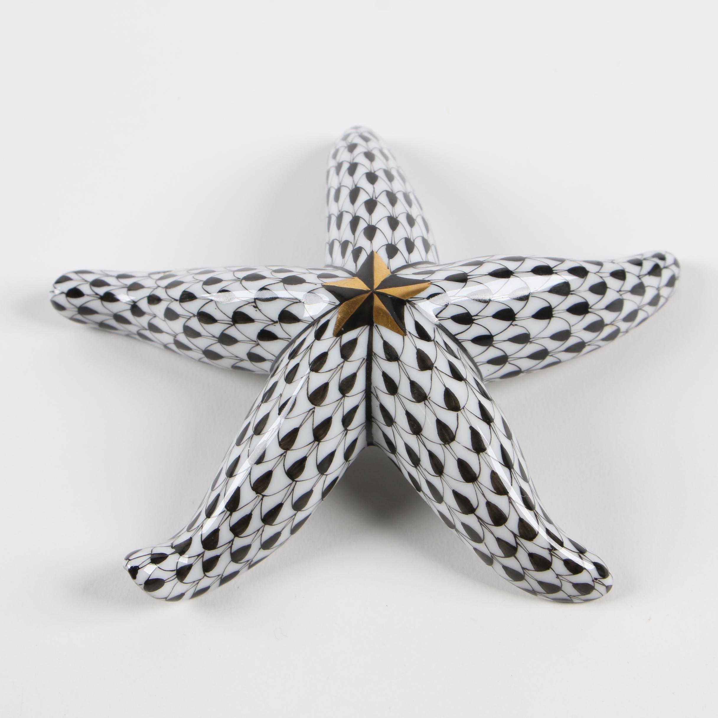 "Herend First Edition Black Fishnet ""Starfish"" Porcelain Figurine"