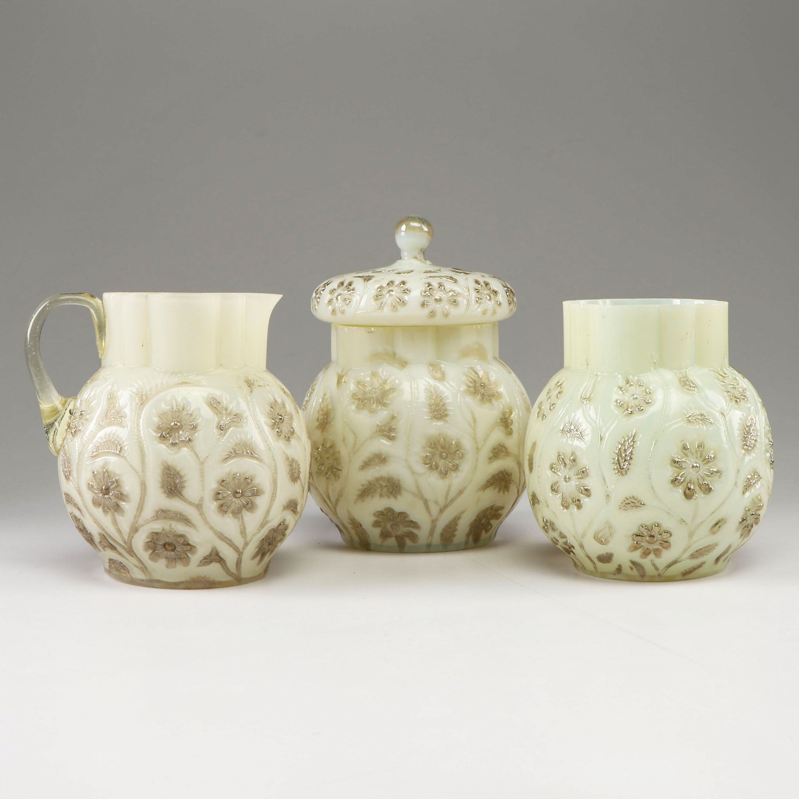 "Findlay ""Onyx"" Opalescent Glass Creamer, Sugar, and Spooner, circa 1890"