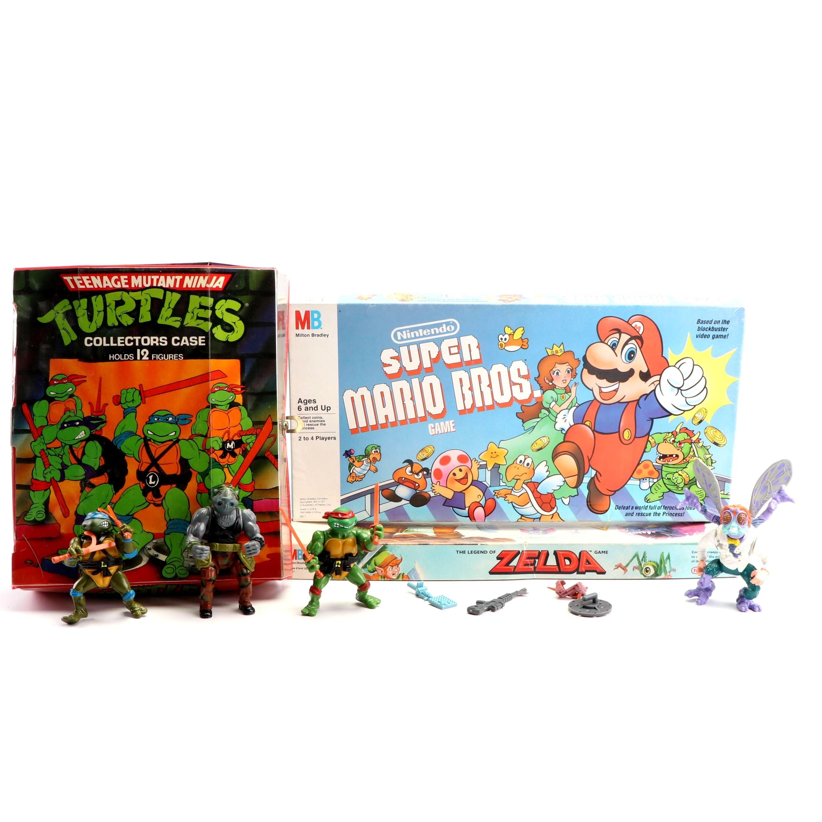 Nintendo Board Games and Teenage Mutant Ninja Turtles Case and Figures, 1980s