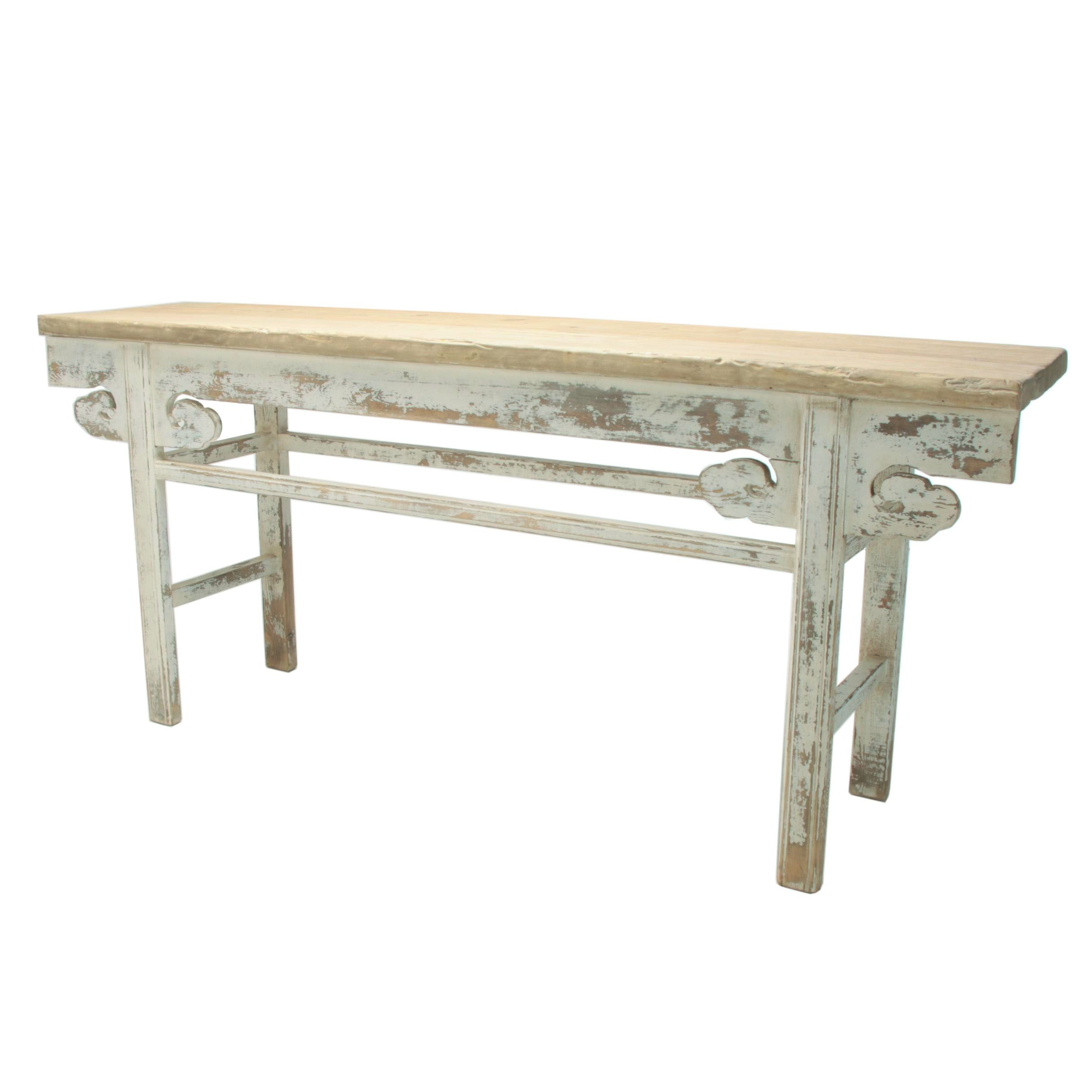 "Chinese Provincial Style Painted Pine ""Low Cloud"" Console Table"