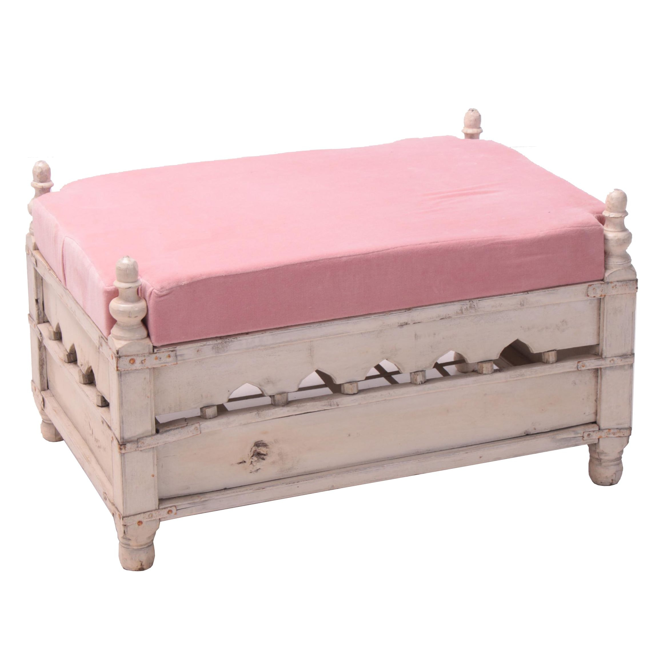 """Painted Wood and Velour """"Cradle"""" Accent Bench"""