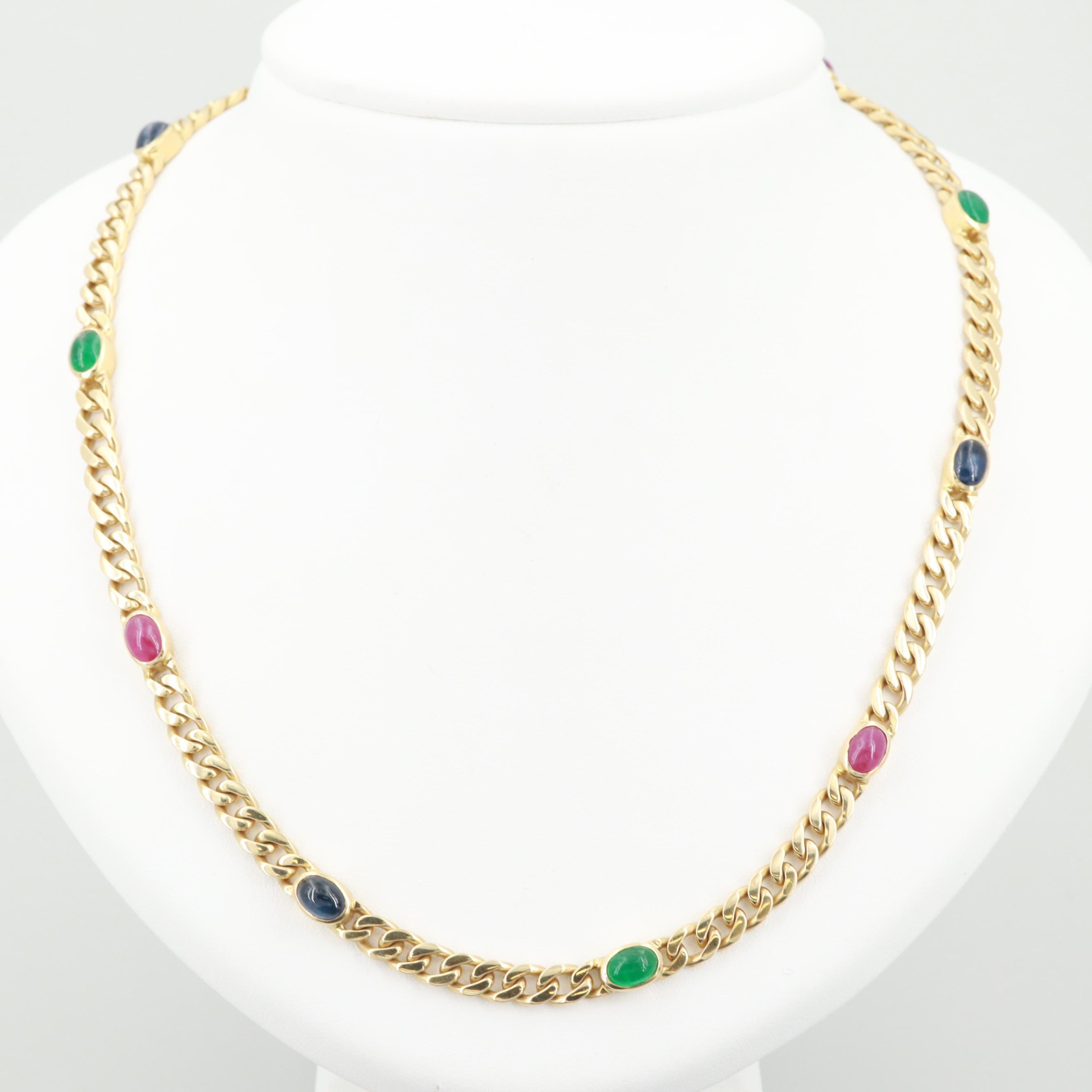 Sinigaglia 18K Yellow Gold Ruby, Emerald and Sapphire Necklace