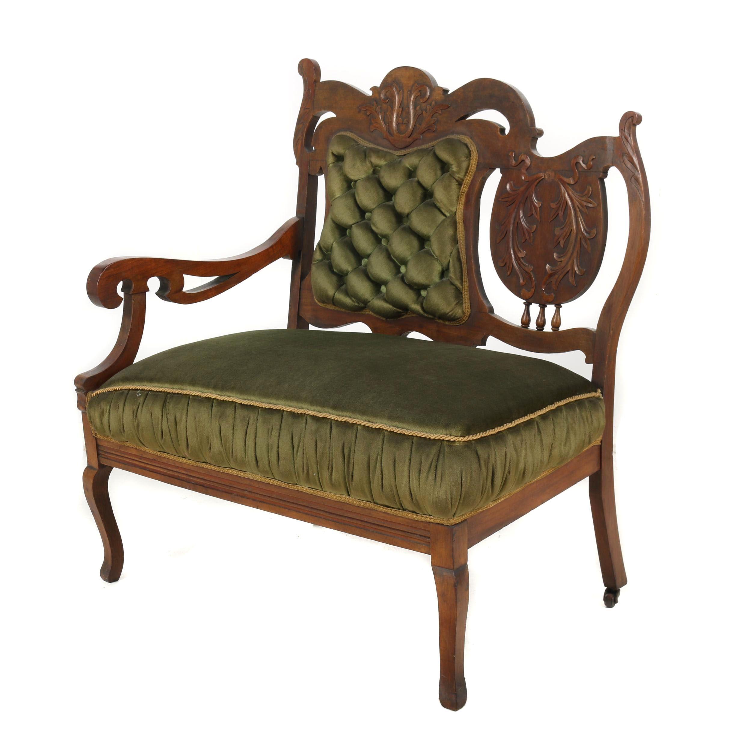 Eastlake Victorian Carved Walnut Frame Upholstered Bench, 19th Century