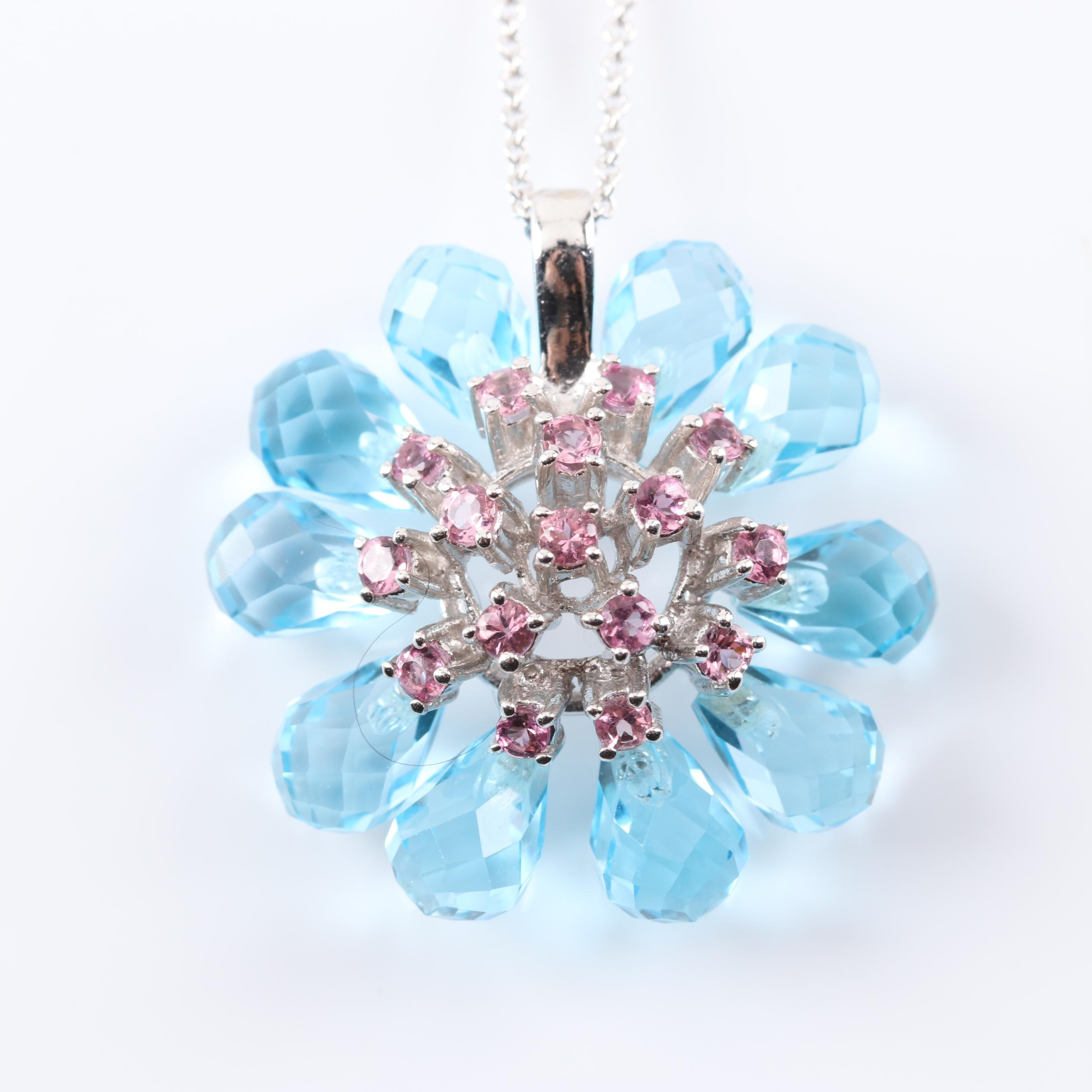 14K White Gold Blue Topaz and Pink Zircon Flower Pendant Necklace