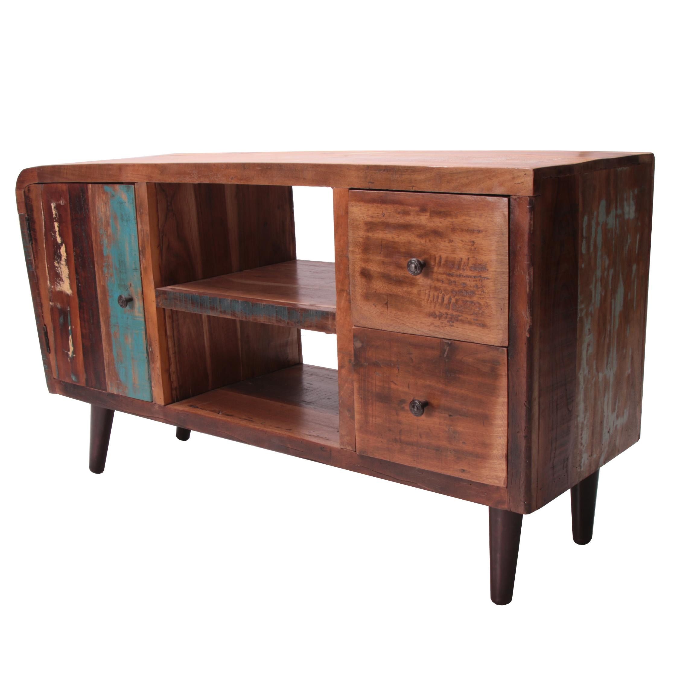 "Mid Century Modern Style ""Retro"" Distressed Hardwood Console Table"