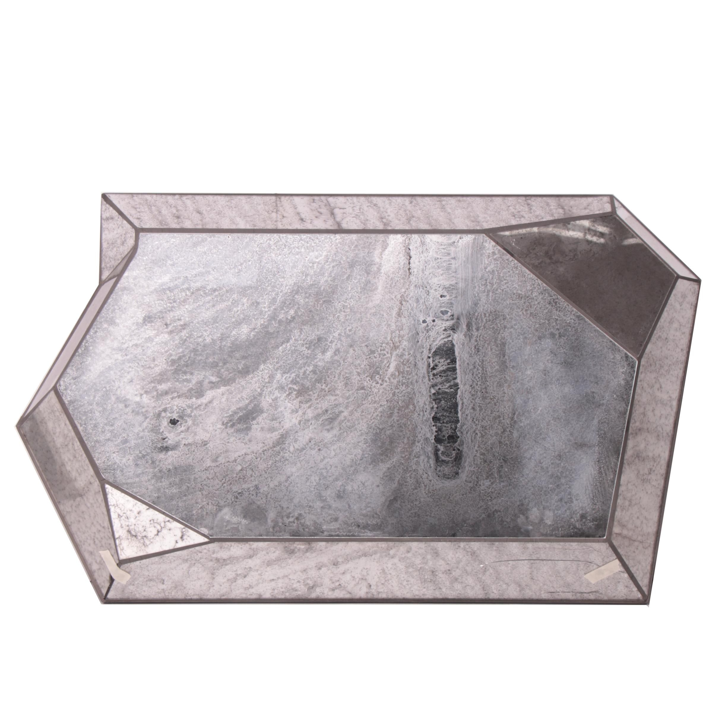 """""""Reflections"""" Faceted Antiqued Wall Mirror"""
