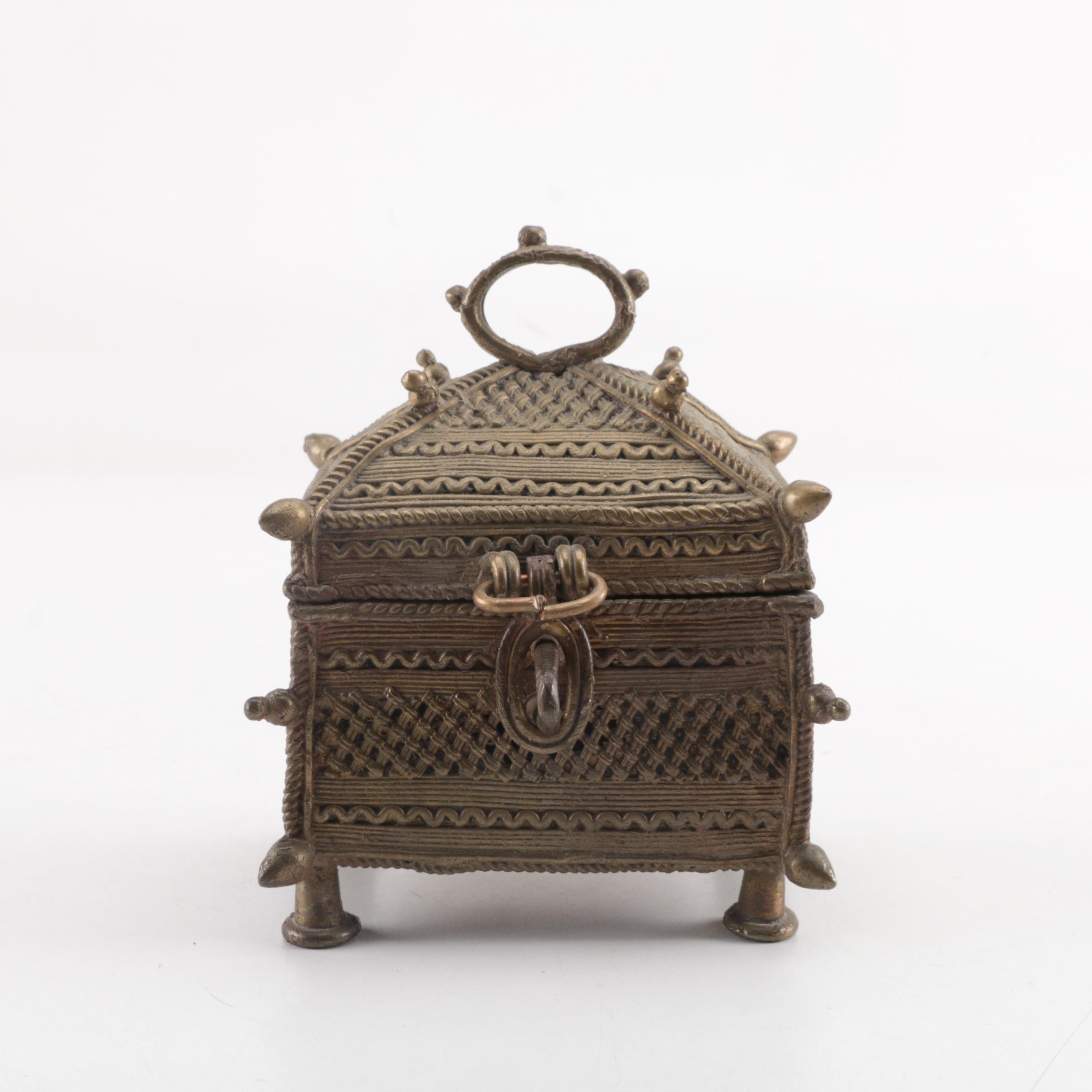 Indian Dhokra Brass Dowry Box, 20th Century