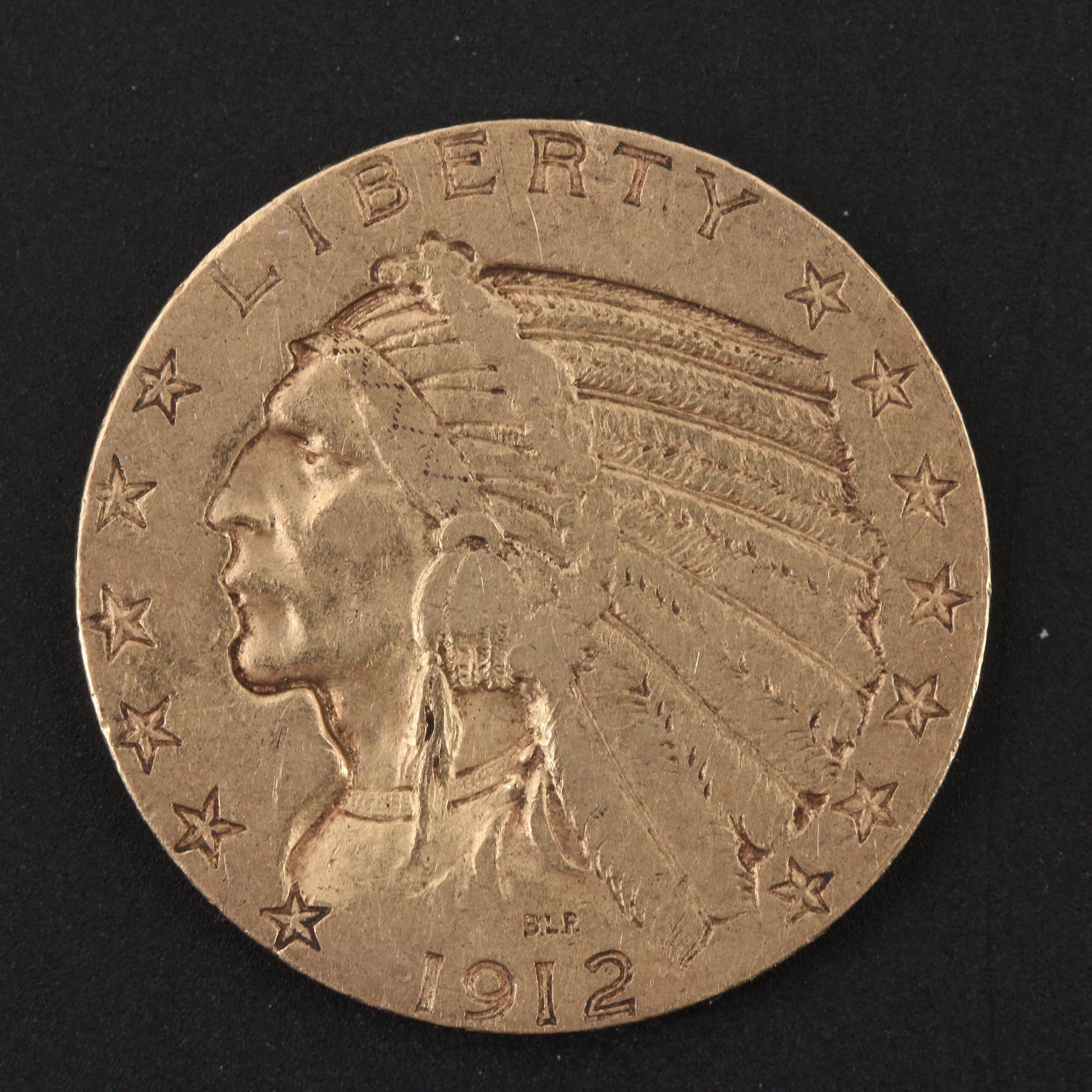 1912-S Indian Head $5 Half Eagle Gold Coin