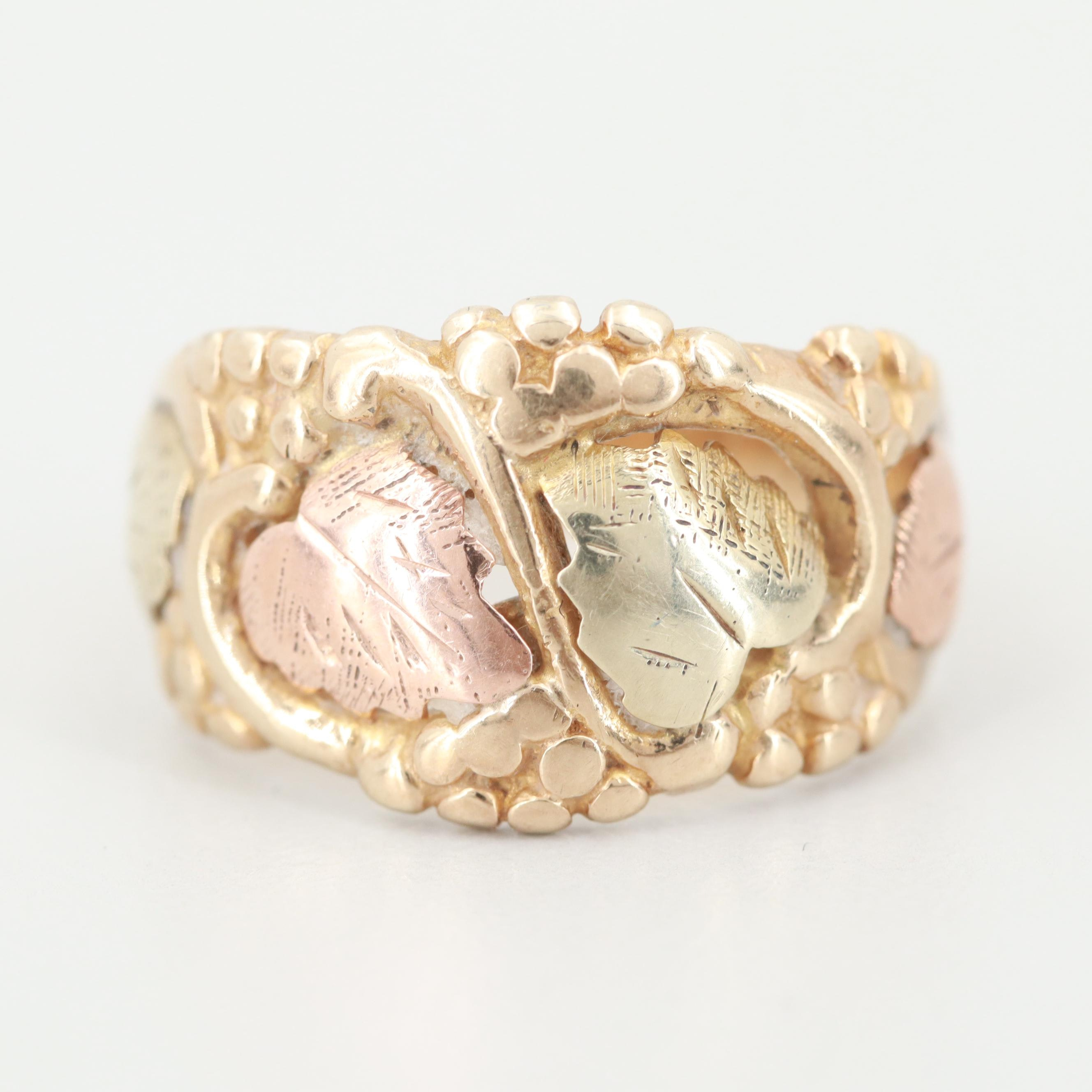 14K Yellow Gold Plant Motif Ring with Rose And Green Gold Accents
