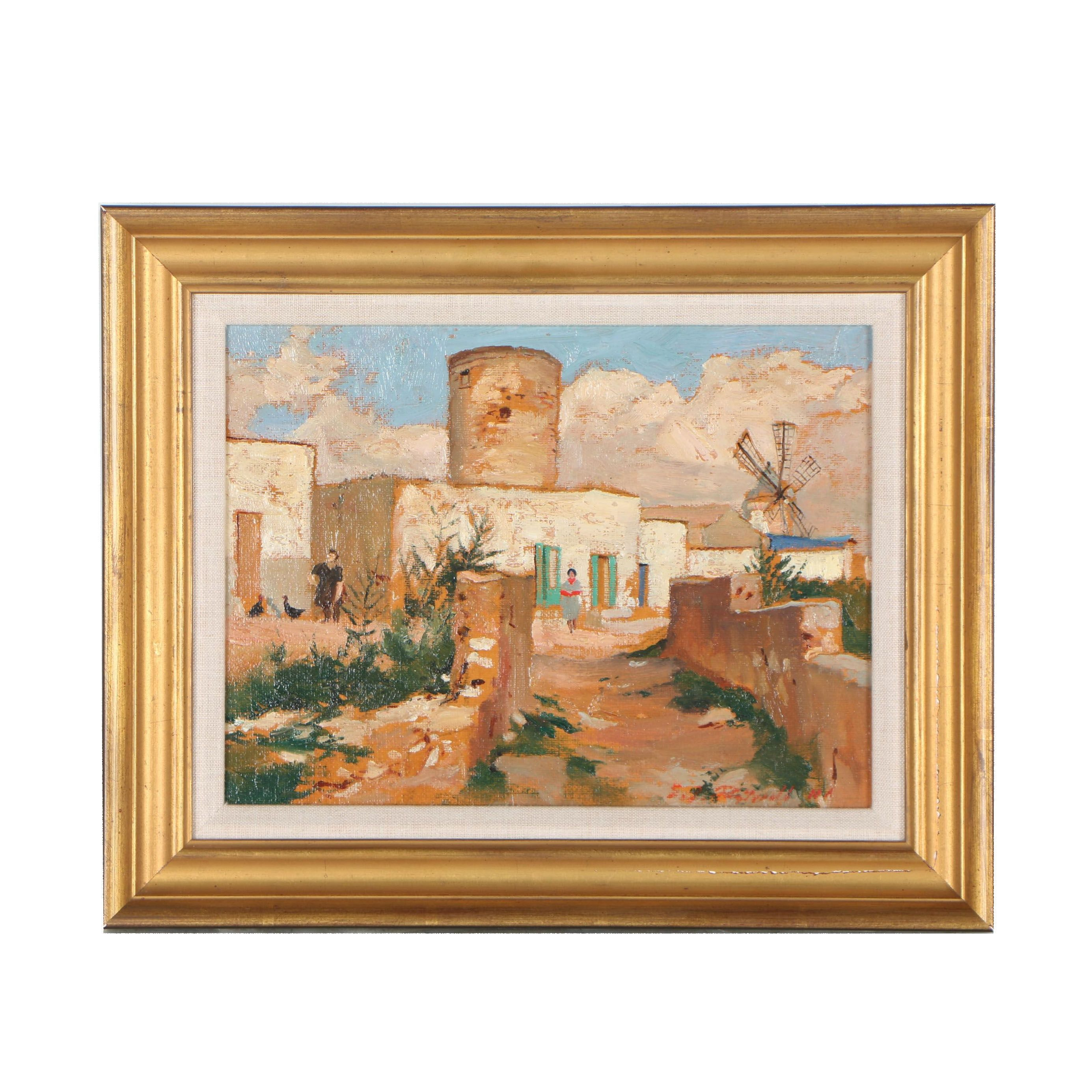 Edmond J. Fitzgerald Oil Painting of Townscape