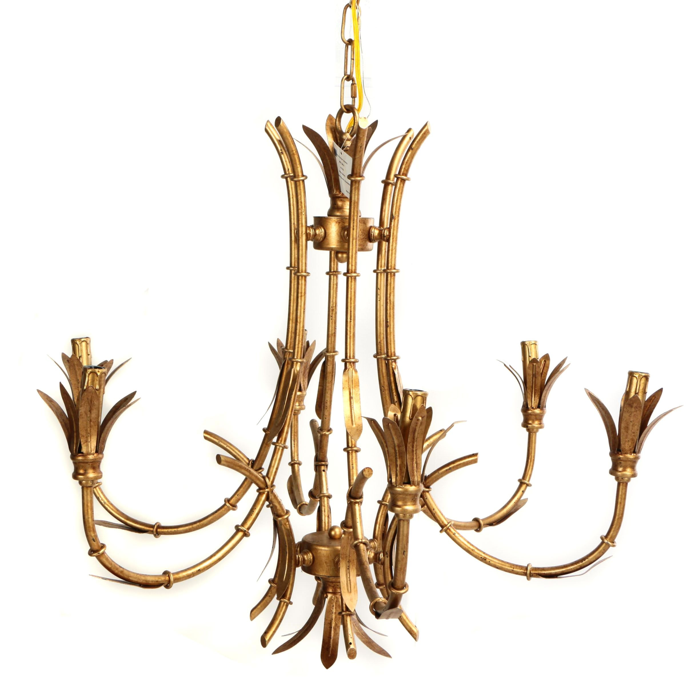 "Chinoiserie ""Faux Bois"" Gold Tone Metal Chandelier"