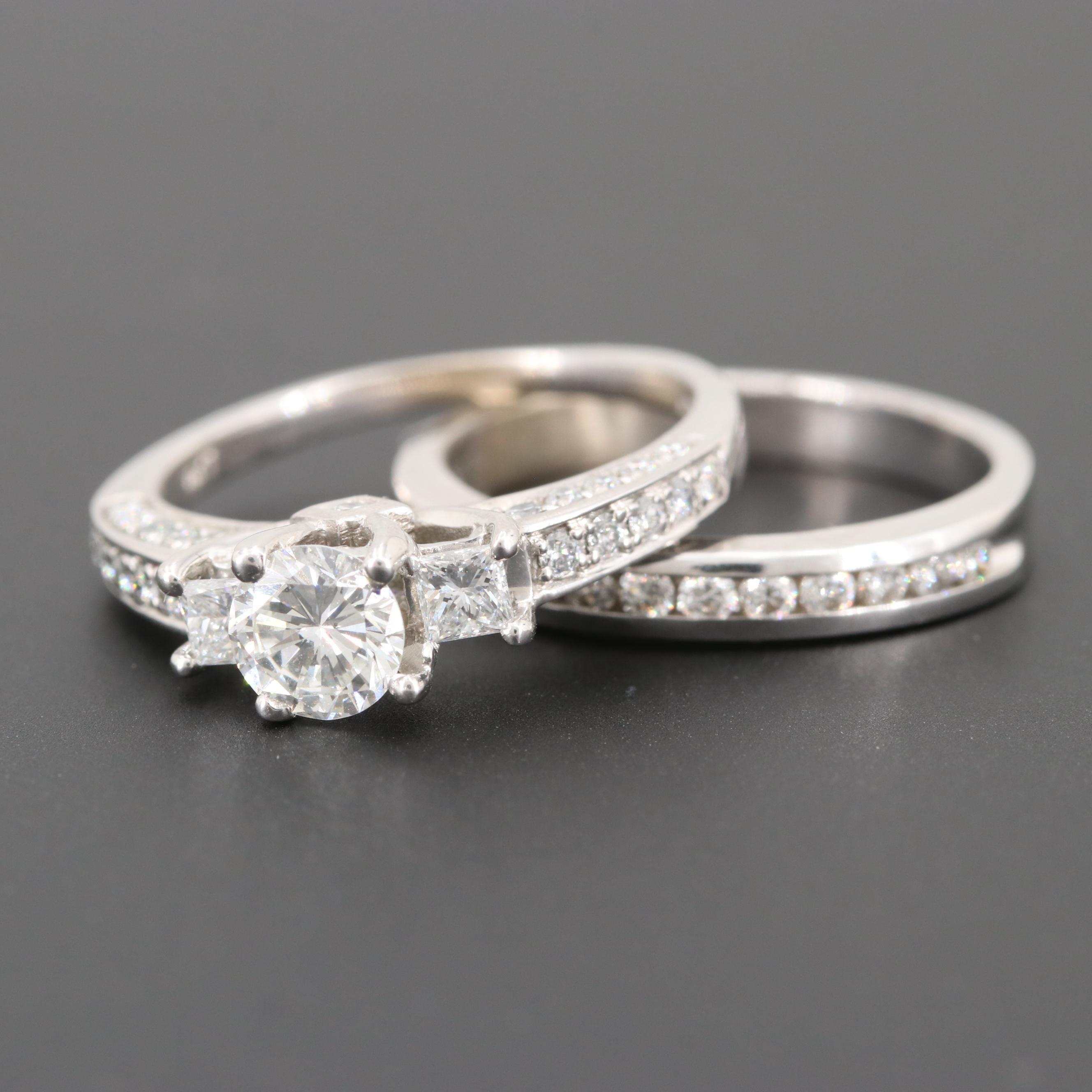 14K White Gold 1.08 CTW Diamond Ring Set