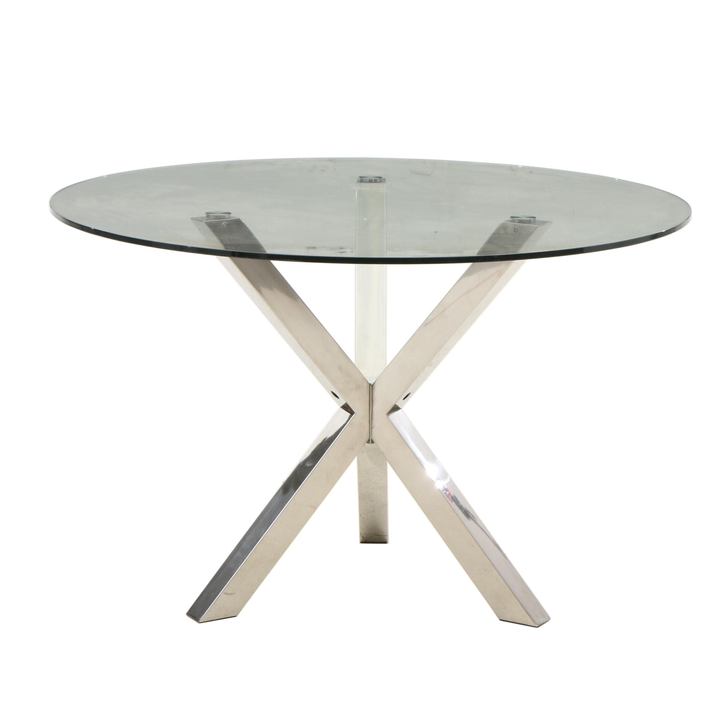 Contemporary Metal and Glass Accent Table
