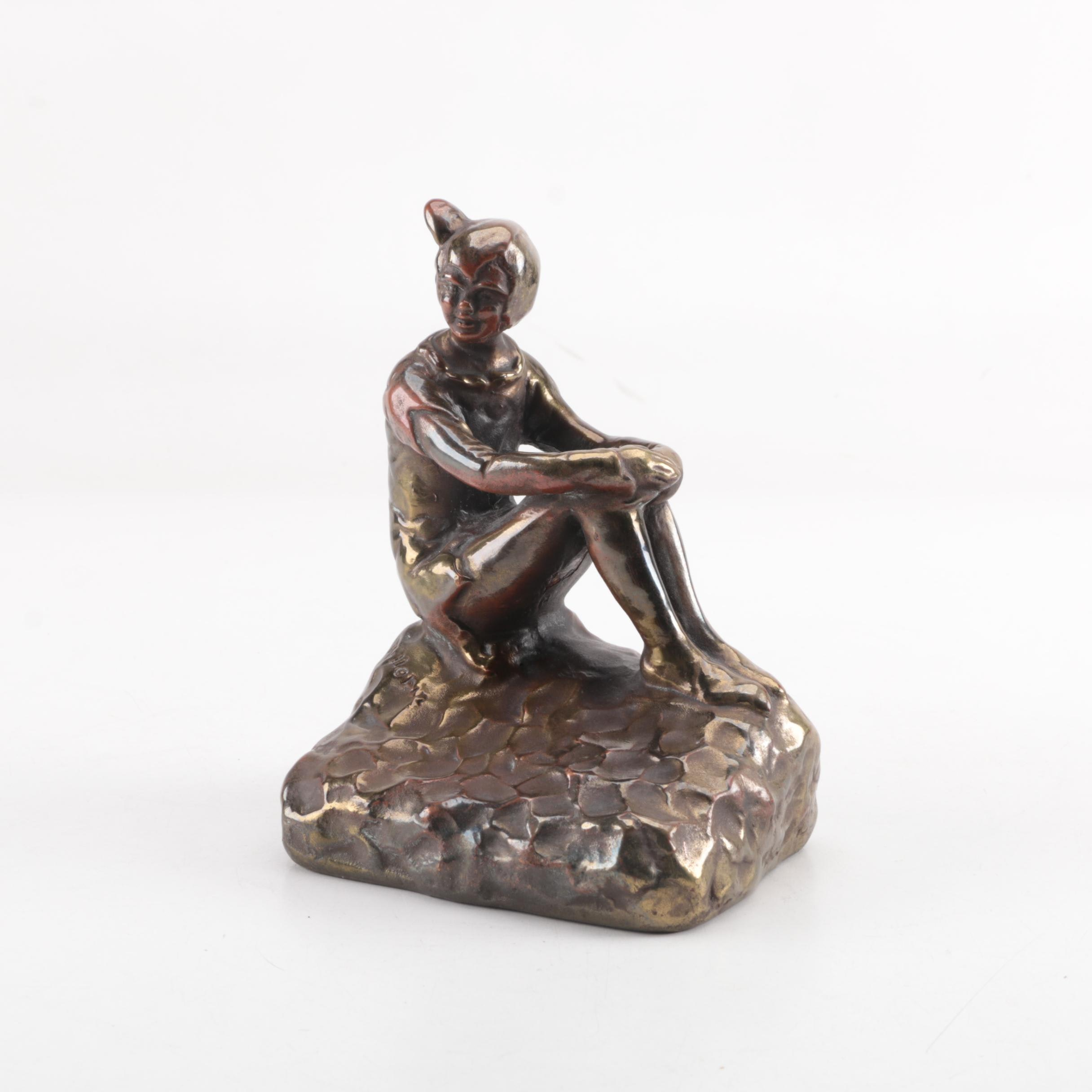 "American Bronze-Clad Cast Metal Bookend of Seated Boy Signed ""Killorin"", 1938"