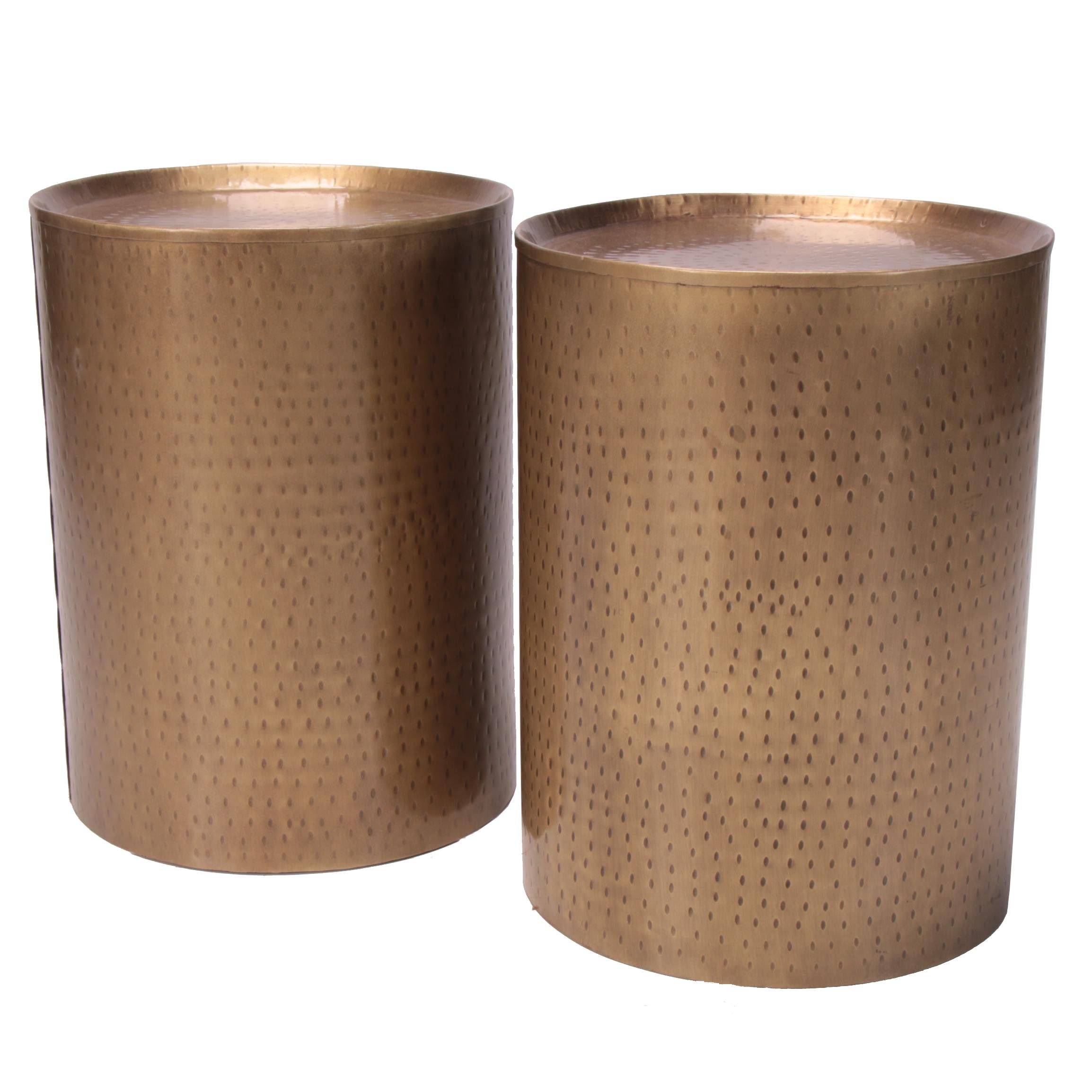 """Pair of """"Metal Smith's"""" Hammered Metal Taborets"""