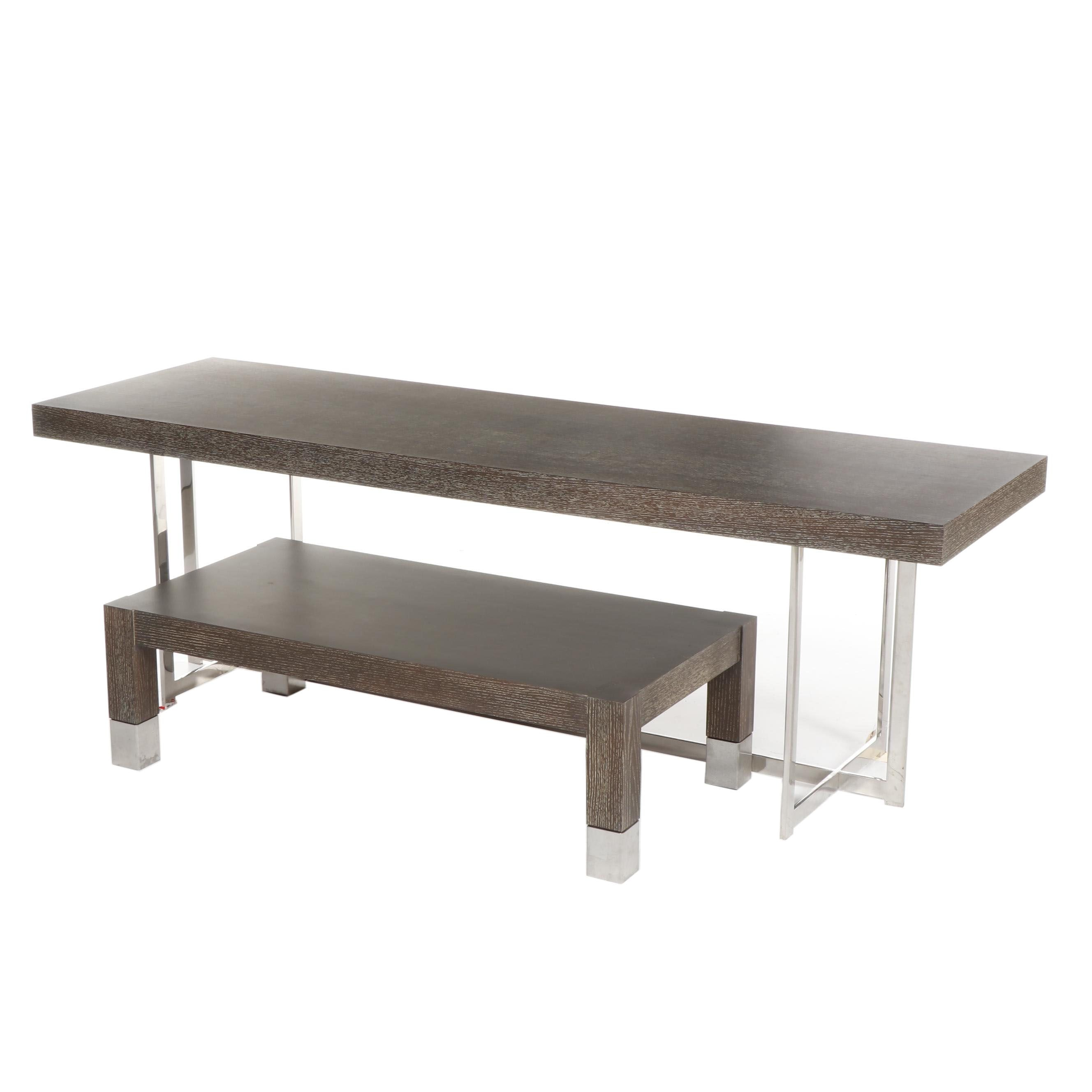 Contemporary Cerused Oak and Metal Table with Bench