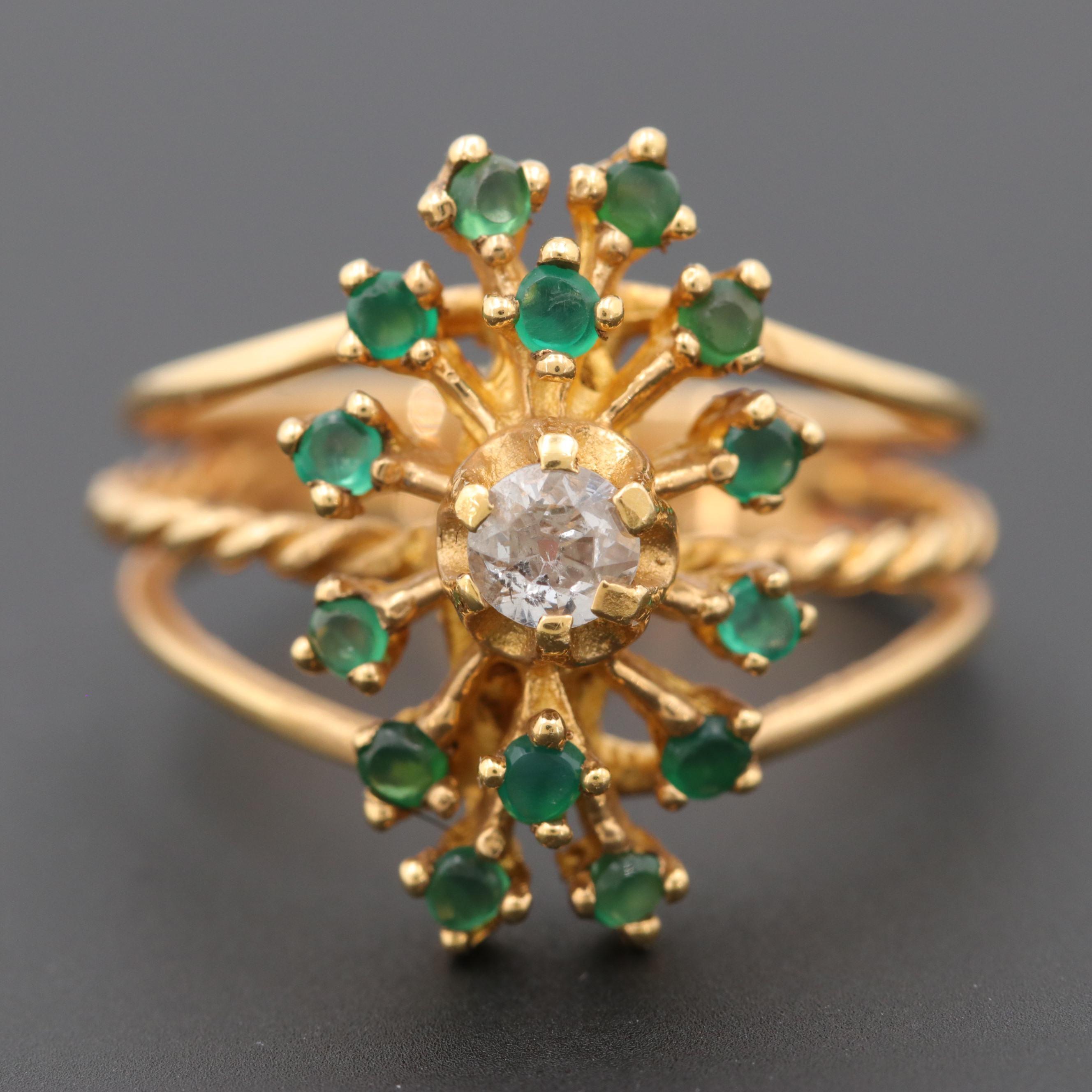 18K Yellow Gold Diamond and Chalcedony Ring
